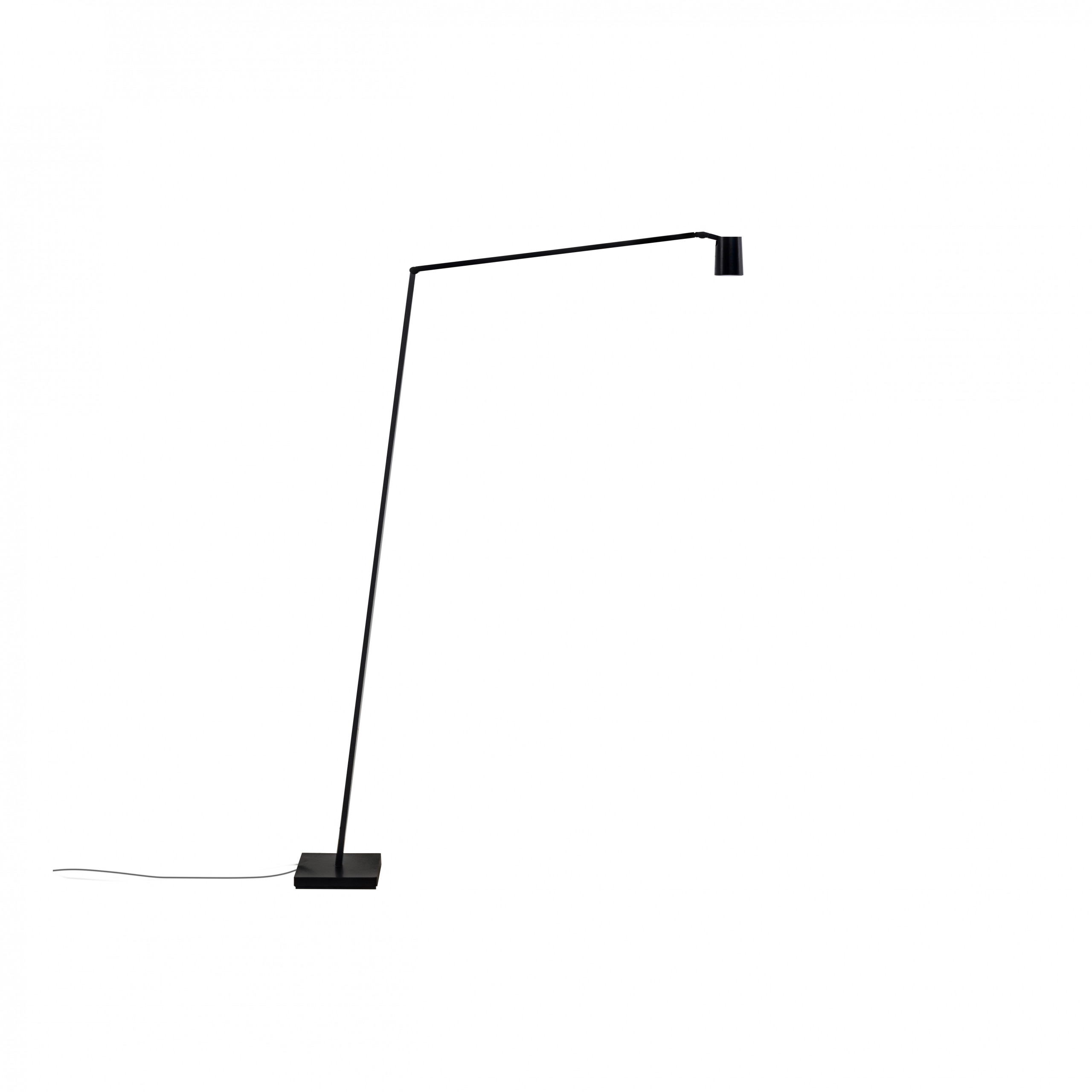 Untitled Reading Spot Floor Lamp - Family of table, floor and wall LED lamps in extruded matt black painted aluminium with joints for flexible and dynamic positioning of the light. Available in the version with the linear lighting unit in polymer filled with glass fibres that rotate on itself and in the version with a cylindrical spotlight in aluminium. Dimmer on board located on the lamp stem.  | Matter of Stuff