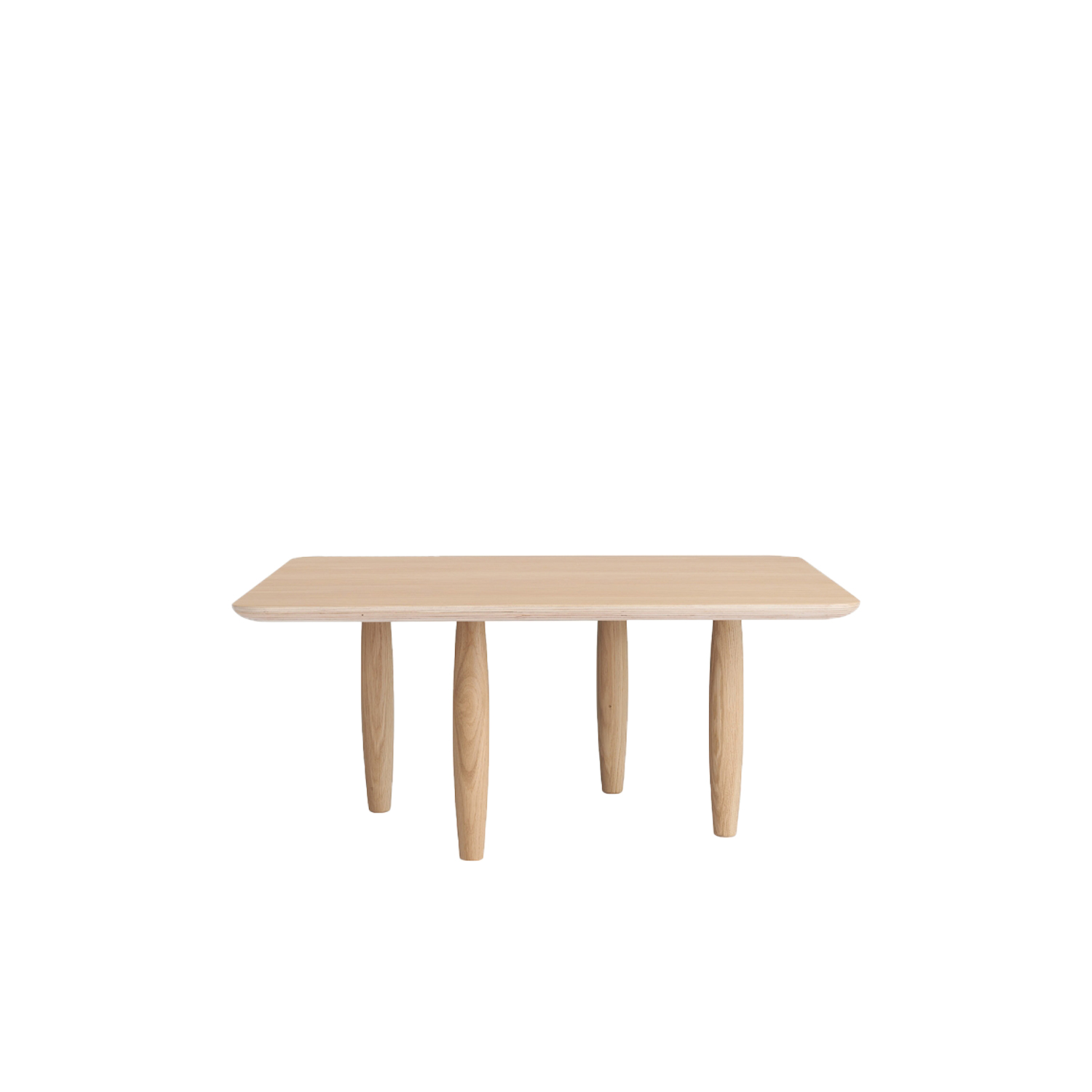 """Oku Coffee Table - Oku is an interpretation of the Japanese word for oak 'Ōku'. Oku refers to the essence of the design - oak. """"Through experiments with the balance between lightness and heaviness, making it paper thin when seen from one angle and solid from others, we've emphasised the material in a simple design"""".    The Oku table top is produced in oak veneer with round edges, adding a refined detail to the large surface. The legs of turned oak timber sections, is positioned sporadic to create the illusion of a floating table top, while also adding a sculptural detail to the table.  Oku comes in both rectangular and circular shapes, with several size options for every room.  Felt pads included.   