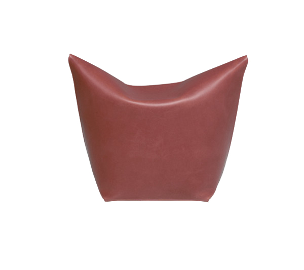 Mao Pouf - It is a simple ottoman reminiscent of the cat snout. Made from one piece of leather shoulder and folded as an origami.