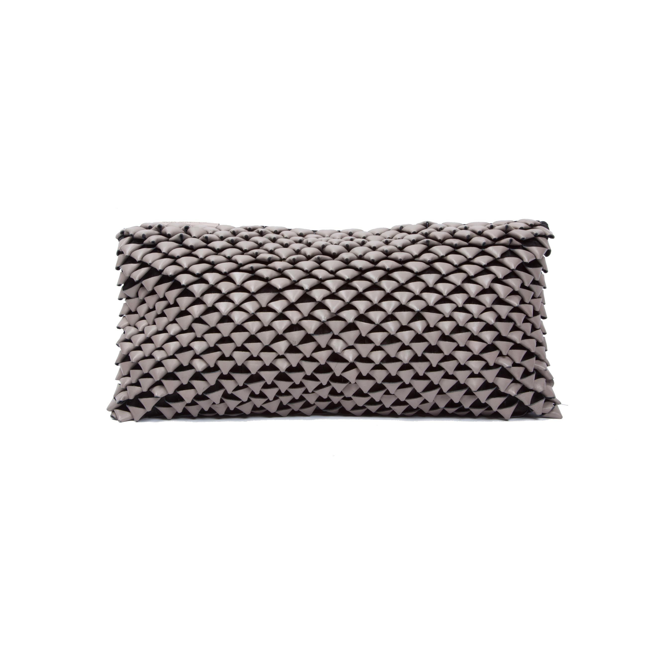 Shell Woven Leather Cushion Small