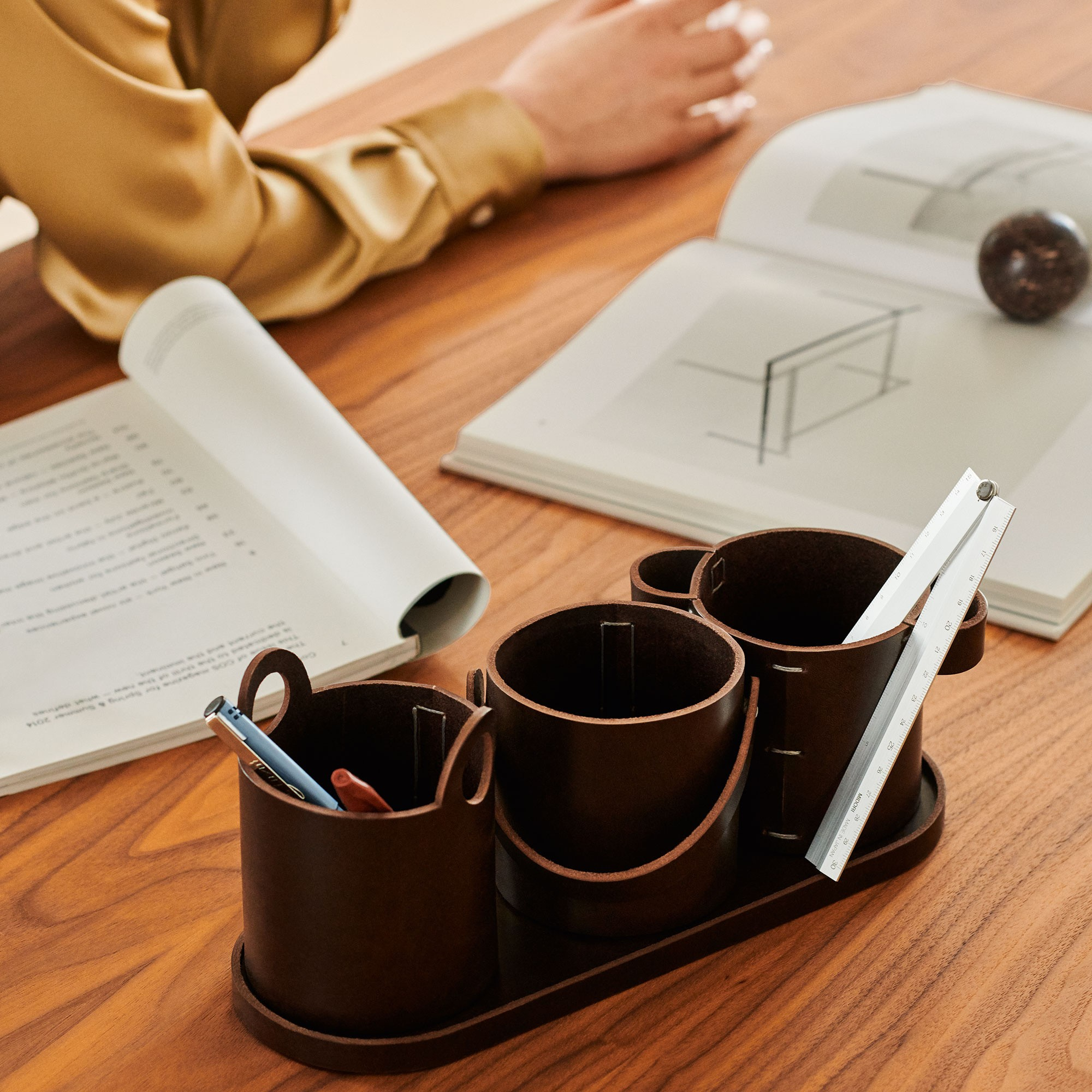 Buckets Desk Organiser - <p>Originally designed for an exhibition as large, outdoor objects in steel, Buckets is reinterpreted as a series of scaled-down vessels suitable for organising writing implements.</p> <p>Designed to be used together, the set comprises three bucket-shaped penholder pots, each with distinctive handles. </p> <p>The tray beneath can be used alone to keep keys, paperclips or other small desk essentials within easy reach, and always in the same place.</p>  | Matter of Stuff