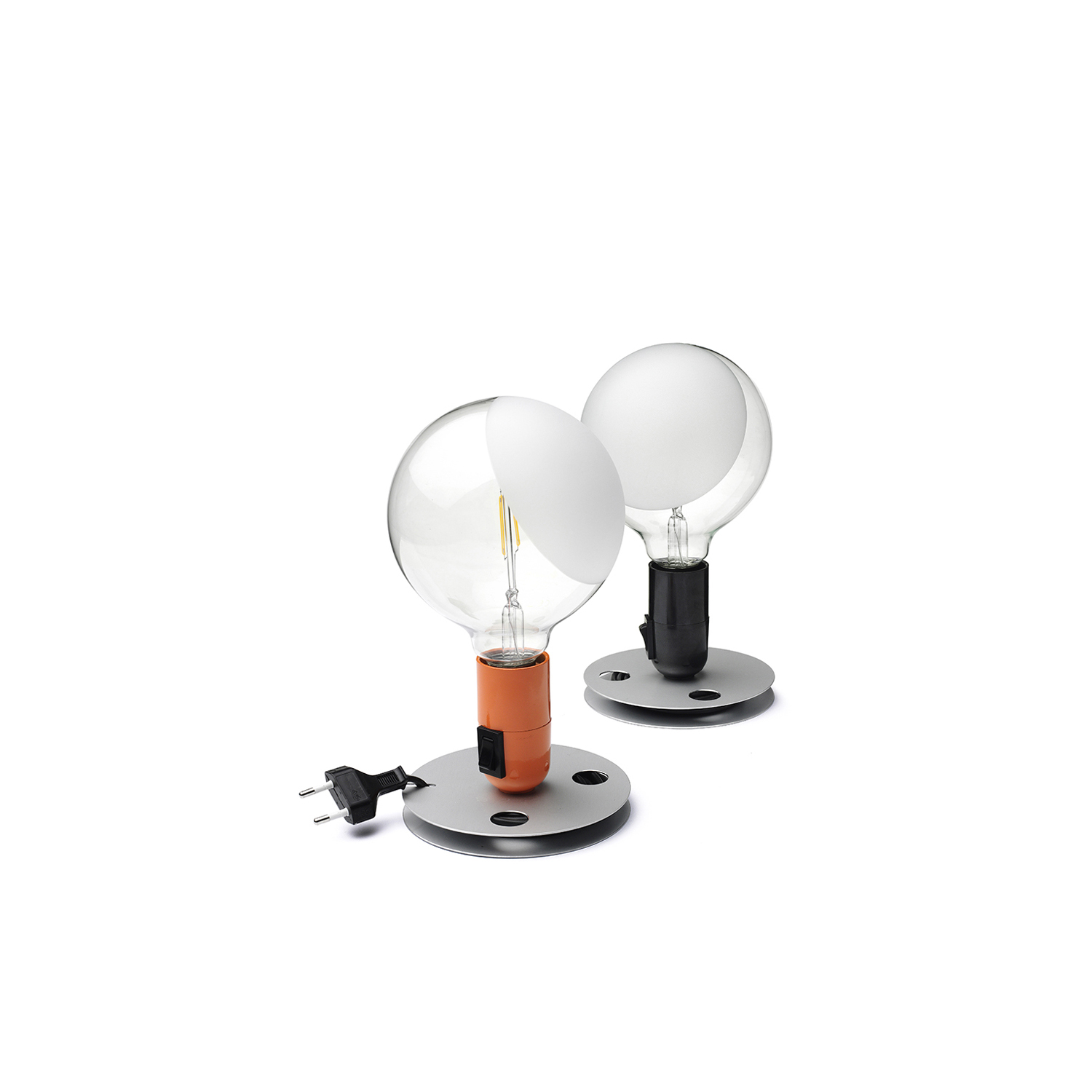 Lampadina Table Lamp - <p>Table lamp providing direct, diffused light. Anodized aluminum base serves to contain excess power cord. Bakelite lamp-holder, painted to match the switch in the orange and black colors. Clear globe lamp is partially sandblasted to diffuse the light.</p>  | Matter of Stuff