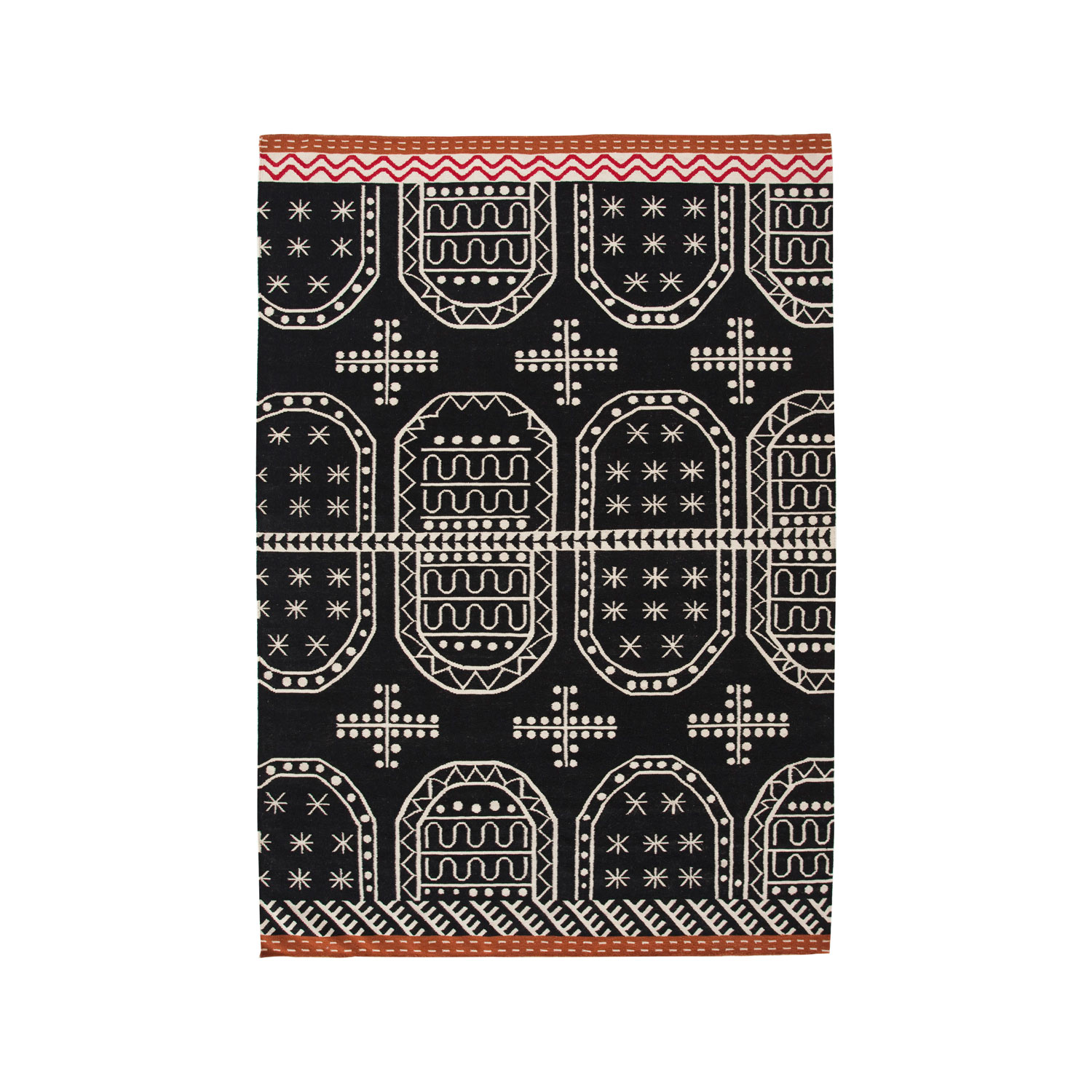 Tasili Rug - The kilim is a canvas where we weave the excitement of art for art's sake to then project this value in your house. Due to the handmade nature of the GAN product, slight variations in size, colour, finish are normal.  This rug comes in three sizes so that you can make sure it fits into your space. 