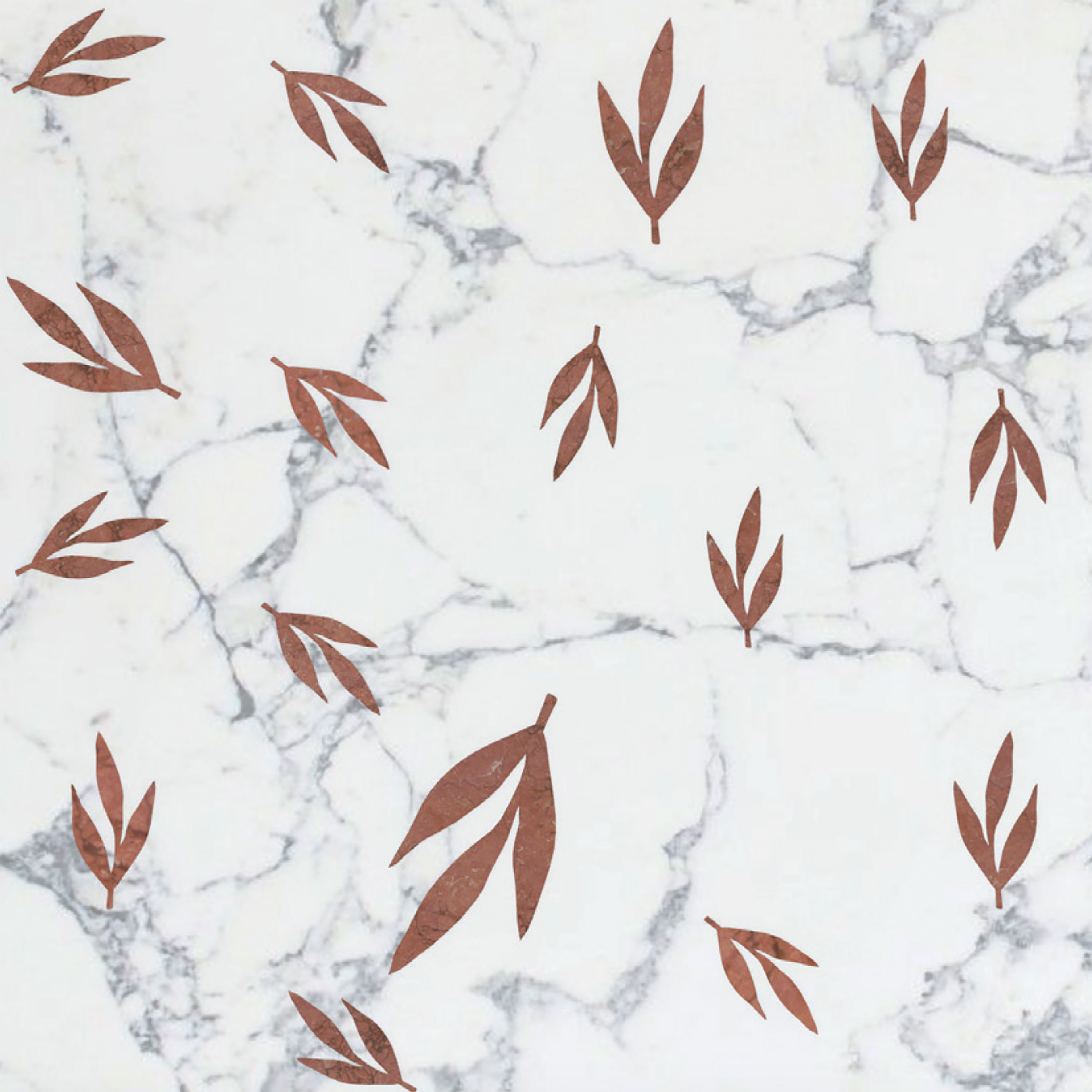 Leaves Red - Ma.C.S. combines artisan crafted production with industrial processing powered by numerical control machines. This is demonstrated by the new marble inlay covering collection. The research aims to integrate the classical idea of marble inlay (combined in some cases with other materials such as wood and metal), with shapes, compositions and innovative, charming designs. All of that is rigorously made in Italy.  The 2017 collection is composed of tiles, large marble slabs and other architectural solutions. The design is characterised by both serial geometric sequences and eclectic surfaces, inspired by nature shapes and dreamlike dimensions.  The proposed coverings, both horizontal and vertical ones, are fully customizable in size and colors, according to client needs. | Matter of Stuff