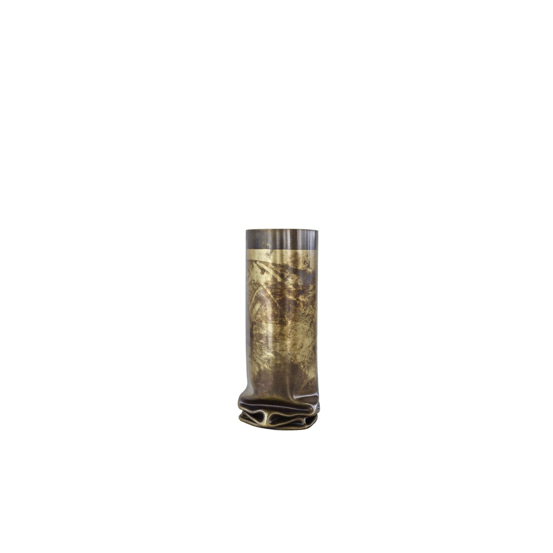 Hot Brass Small Vase - This small vase part of the Hot Brass collection boasts a contemporary and industrial flair and will be a superb decorative accent in any modern interior, either alone or combined with its larger versions. Entirely crafted by hand of brass, its cylindrical body is exposed to a naked flame from the inside, creating a stunning effect of melted metal at the base. This elegant texture, evocative of folded fabric, is accented with a bronzed effect. | Matter of Stuff