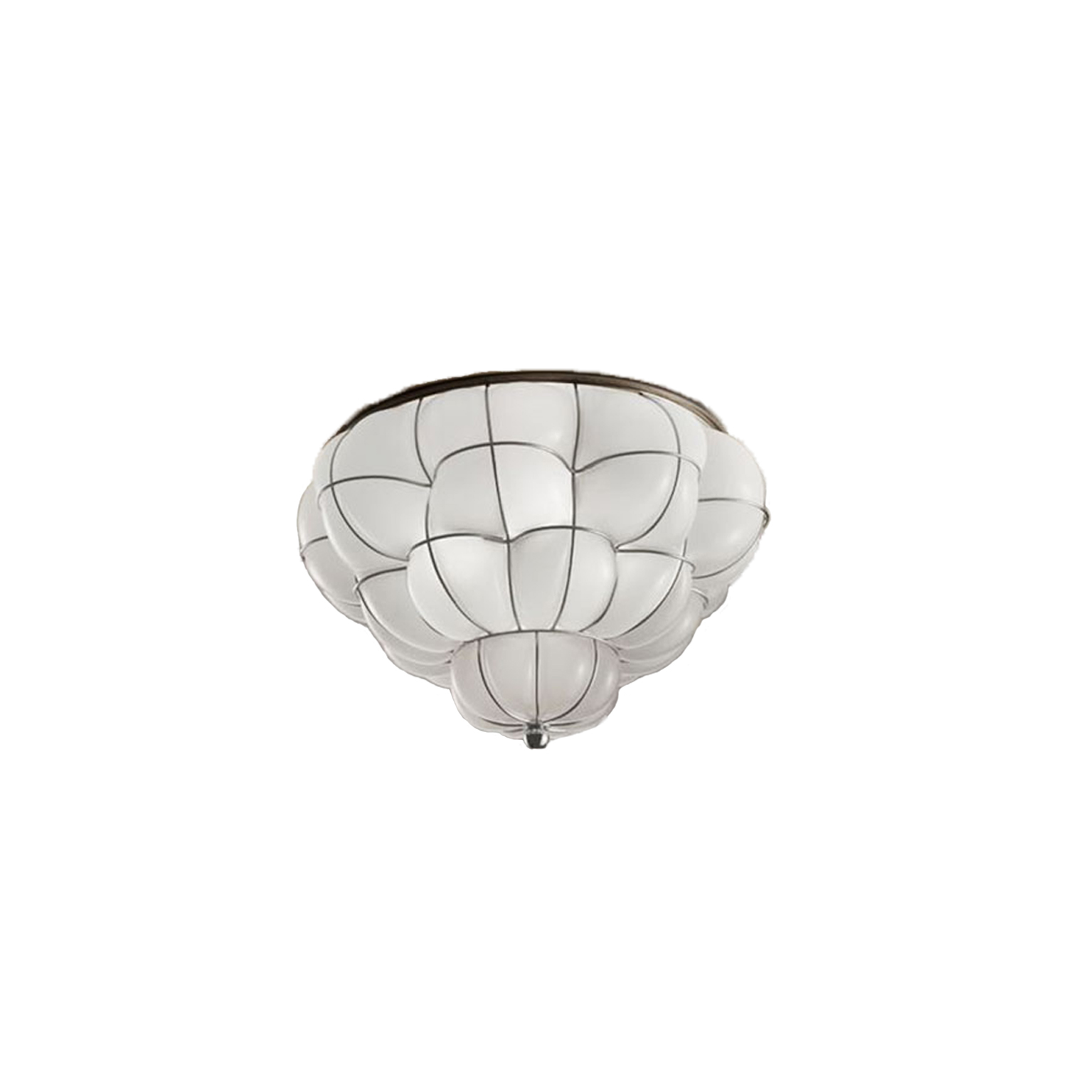 Pouff Ceiling Light - The Pouff Ceiling Light is similar to the Pouff Pendant Light with it's organic and natural form. It suits almost any room and adds a splash of personality with its modern twist on a traditional ceiling light. The Pouff Ceiling Light is hand made blown glass with suspension techniques of the old Murano glass masters.This light comes in three different finishes: Smooth Milk White, Interior Satin Amber and Antique Satin Crystal. 