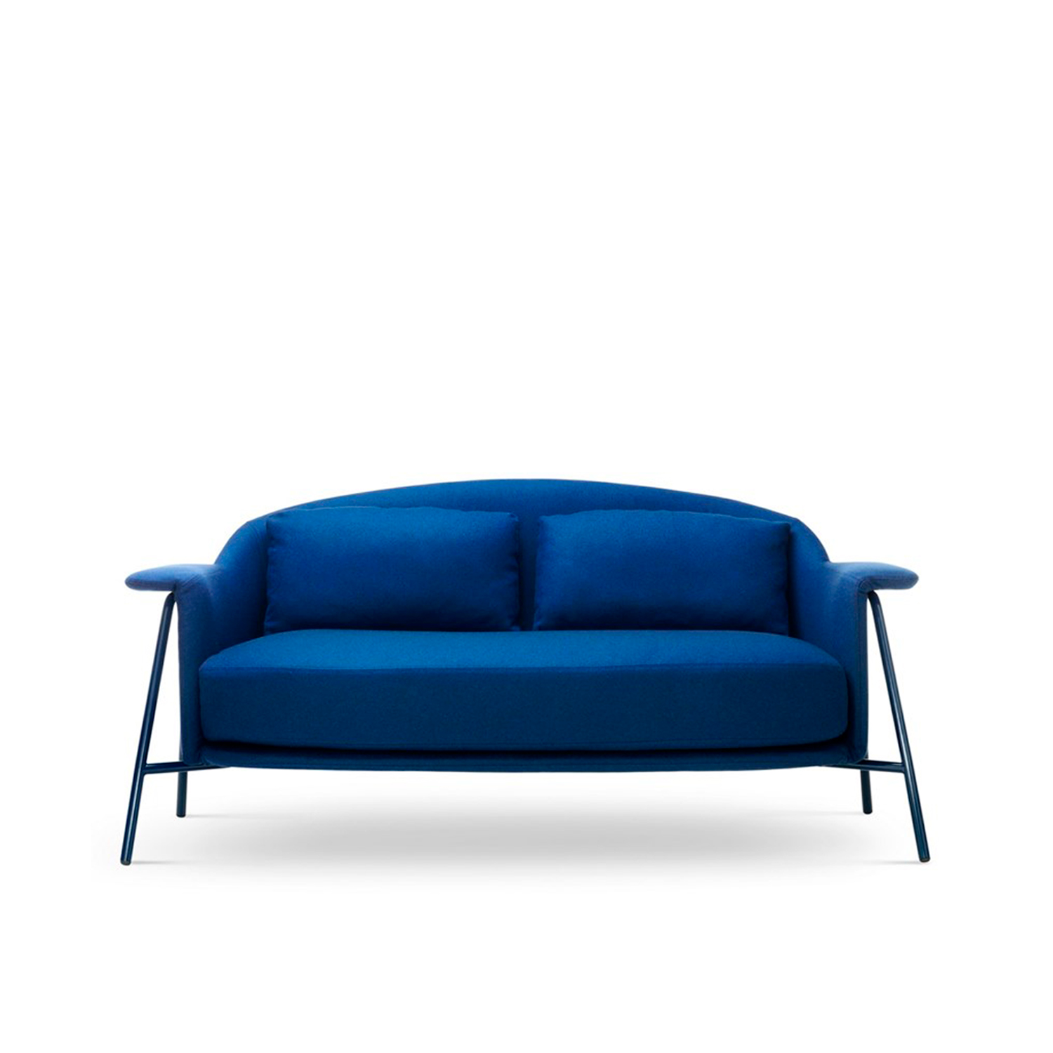 Kepi Sofa - The Kepi sofa's sober design and vaguely Nordic look are softened by rounded lines that add character and improve comfort. This is the Kepi sofa, featuring complete symmetry with two back cushions and one seat cushion. Its clean design and nonchalant elegance make it perfect for the home and the contract environment. The functional supporting structure is made of tubular stainless steel. Fully removable covers.  Additional removable cover is available, please enquire for prices.  Materials Base made of bleached ash wood or black painted (only for armchair) or base in iron painted rod. | Matter of Stuff