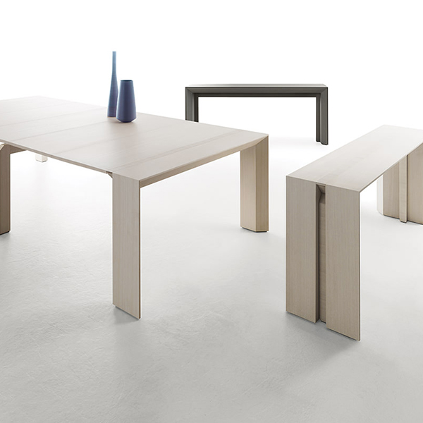 """Minuetto 180 Extendable Console Table - <p>Through simple moves, a mechanism with aluinium rails transforms """"Minuetto"""" from elegant console into a large dining table. Volumetric games and facets make """"Minuetto"""" a present-day project, with neat lines and geometric design, easily adaptable to the different kinds of environment.</p>    Matter of Stuff"""