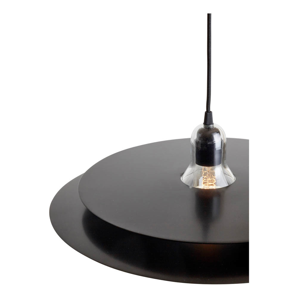 Cymbal Lamp Black - <p>Cymbal is a pendant lampmade of blown glass and two slighlyconvexe trays. The chrome versionlooks transparent as it reflects itsenvironment, whereas the black oneoffers a more graphic style.Cymbal can be displayed both aloneor in combination with other Cymballamps to multiply reflections andconfuse perception.</p>  | Matter of Stuff