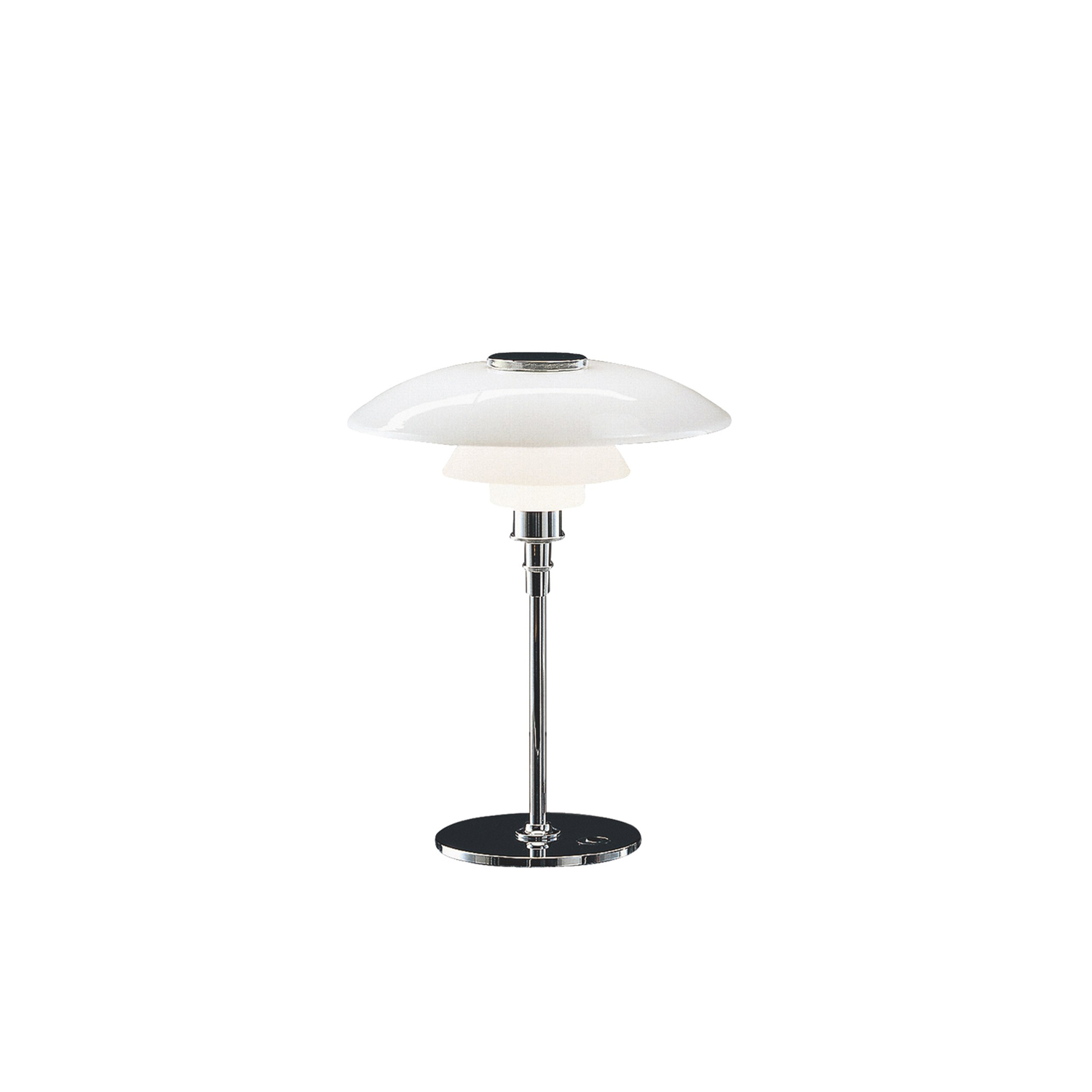 PH 4½-3½ Table Lamp - The fixture is designed based on the principle of a reflective three-shade system, which directs the majority of the light downwards. The shades are made of mouth-blown opal three-layer glass, which is glossy on top and sandblasted matt on the underside, giving a soft and diffuse light distribution. | Matter of Stuff