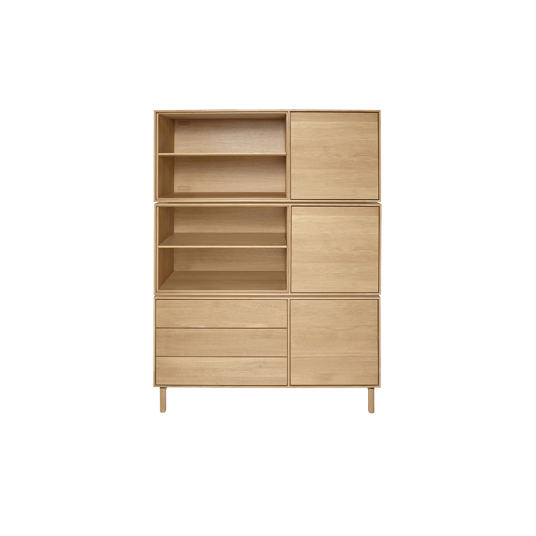 Modulo Drawer - <p>The brief for Modulo was to create a simple, flexible storage system. Modulo is built around a single basic solid oak cabinet carcass which can be specified with either doors and drawers, doors and shelves, drawers and shelves or just shelves. Modulo combines traditional cabinet construction with the modern desire for choice and personalisation.  Each option is available oriented left-handed or right-handed and can be used individually or stacked and combined to offer numerous storage solutions. Wood finishes and colour samples are shown for guidance only as screen colours may vary. We would recommend ordering a sample in your chosen finish. However, wood is a natural material and varies in colour, grain and structure.<br />