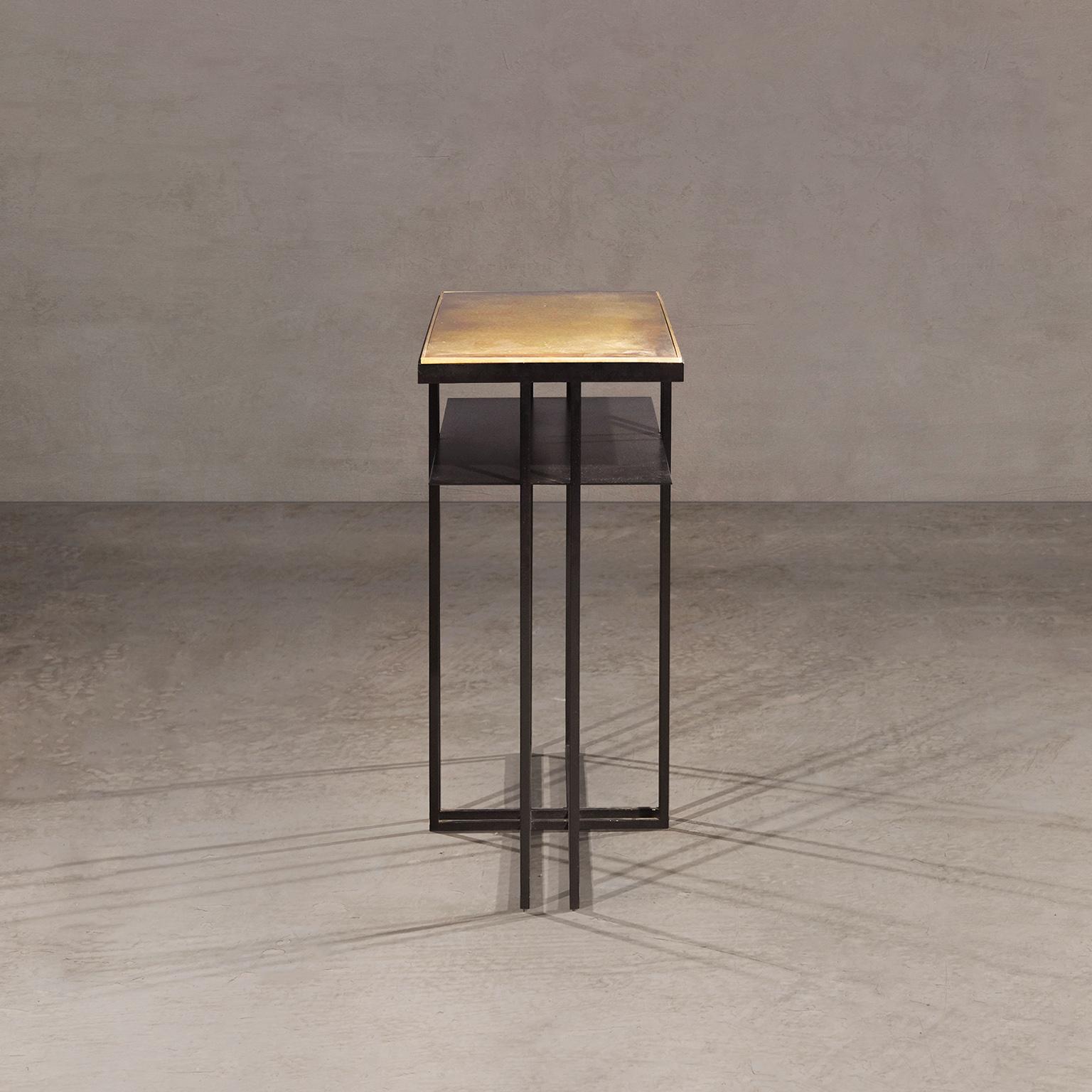 Brass Cross Binate Side Table