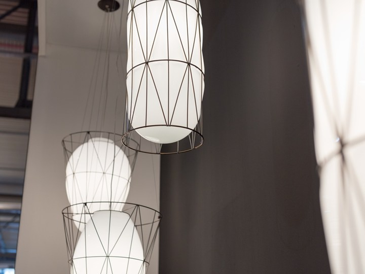 Segni Cylindrical - The Segni Cylindrical light is hand made blown glass suspension with the techniques of the old Murano glass masters. It slightly protrudes from the wire cage creating a rounded end that is held in place. This elegant and modern light suits commercial spaces as well as residential.  The finish is Smooth Milk White.</p> <p>250V Input. 1X E27 max 100W ~ IP20 Bulbs</p>  | Matter of Stuff