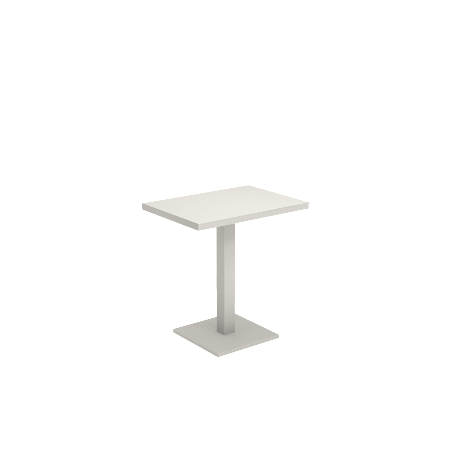 Round Square Table - Round is a collection defined by its search for structural balance and soft lines, an interpretation of outdoor space that conveys stylistic but essential refinement. Clean and basic shapes mark the range of elements that make up this collection. This table comes in three sizes and is made from steel.   | Matter of Stuff
