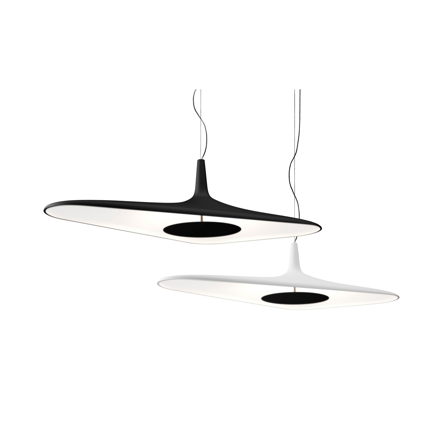 Soleil Noir Suspension Lamp - Supported by a single asymmetrical cable, the lamp keeps its balance thanks to the thicknesses of the body, varying from 8 to 25 mm, offering a slim aerial lighting element that brings brightness with discretion and elegance. An object that defies the laws of physics, thanks to technology that permits design bordering on the impossible. | Matter of Stuff