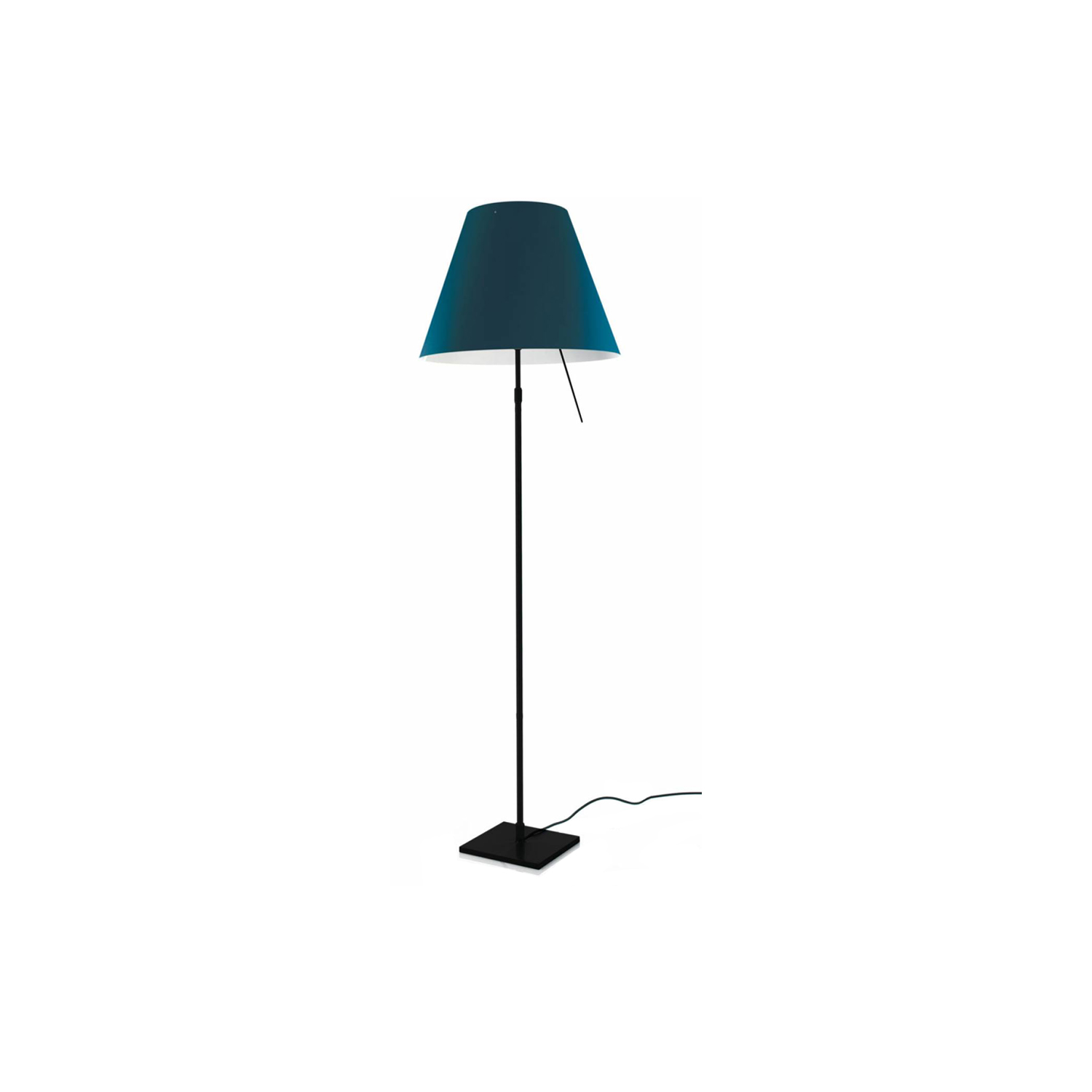 Costanza Floor Lamp - Ethereal and essential, this lamp fits into any setting with nonchalance. Costanza is an archetypal example of modern elegance. The polycarbonate shade rests on the aluminium structure at just two points.  LED technology has made it possible to update Costanza while keeping its inimitable characteristics: high performance in terms of diffuse lighting and visual comfort  Shades come in different finishes, please enquire for more information | Matter of Stuff