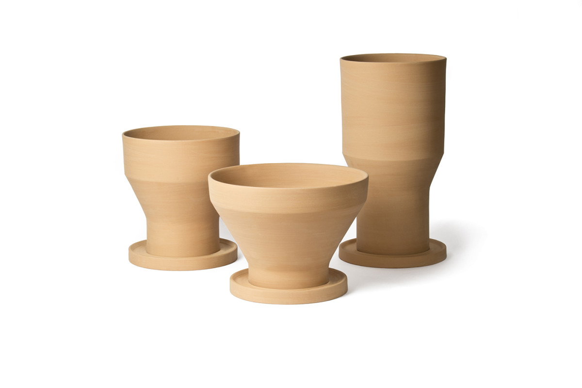 Mira Garden Pot - <p>Erba, Mira and Pila are based on archetypal forms of traditional garden pots that are part of our collective memory. Their clean lines and geometric play of intersecting conical and cylindrical volumes reinvent the typology itself. Designed to be perfectly stackable, they come with a standard flowerpot saucer, the same for all three sizes.</p>  | Matter of Stuff