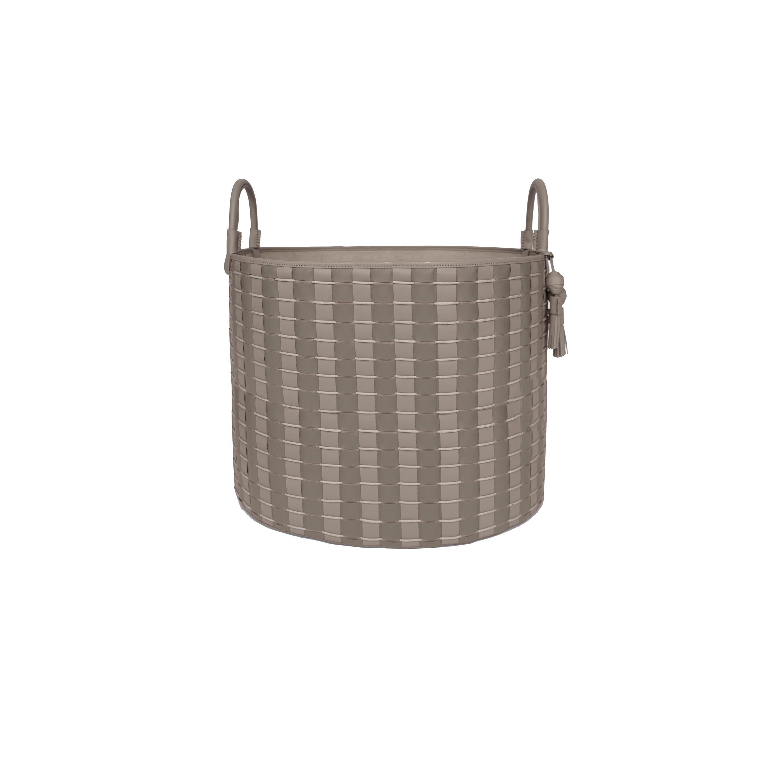 Camboja Paraty Woven Leather Basket - <p>The Camboja Paraty Woven Leather Basket is designed to complement an ambient with natural and sophisticated feeling, ideal when placed next your sofa or bed, perfect for magazines and throws storage. Our woven leather pieces, are handmade and manufactured in Brazil using an exclusive treated leather that brings the soft feel and touch to every single piece. Elisa Atheniense Home Camboja Paraty Baskets have a delicate tassel attached. Bespoke sizes are also available under project request as well as colours.</p> <p>The baskets are available in three sizes.<br />Bespoke sizes are also available under project request as well as colours.</p>  | Matter of Stuff