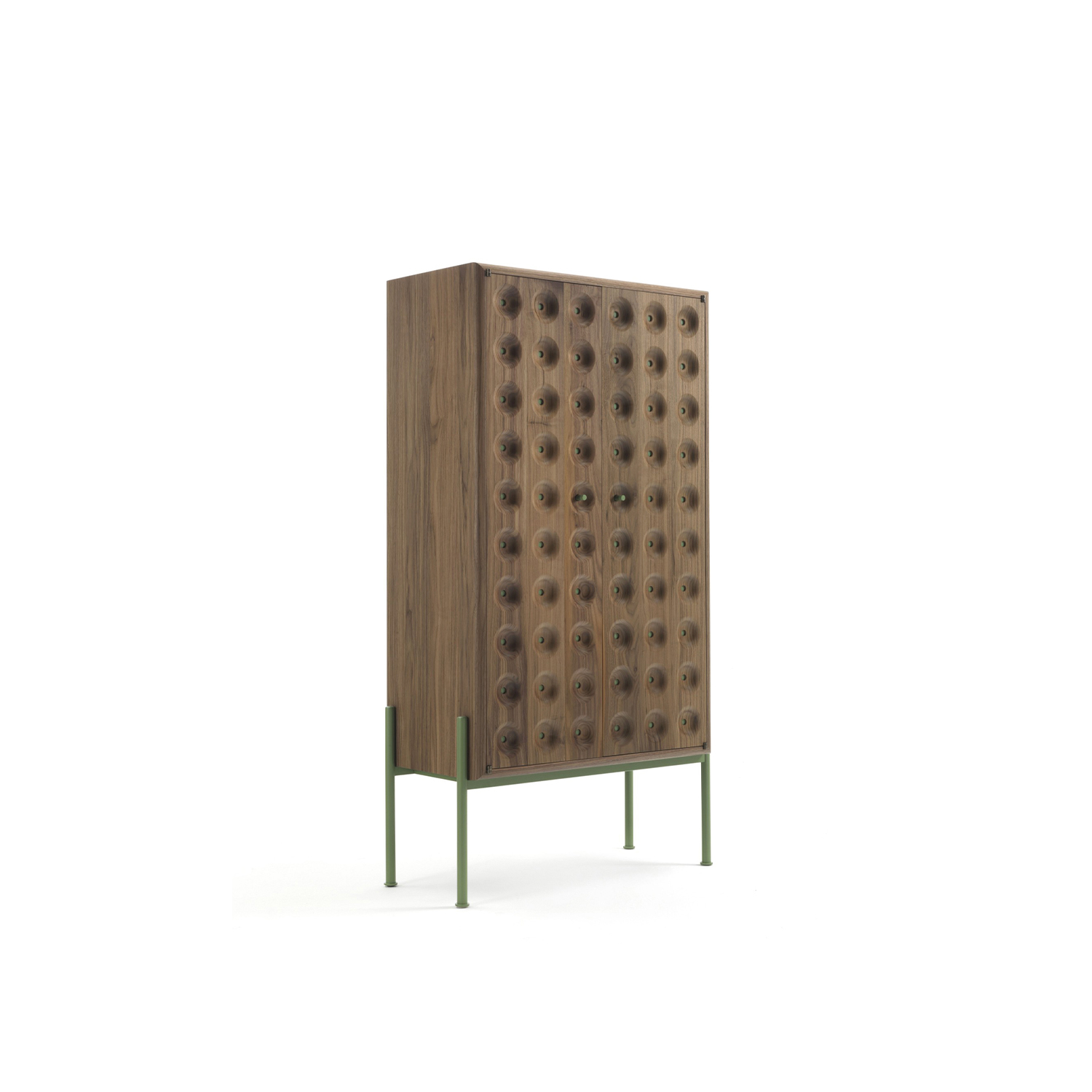 Breathe Cabinet - A cabinet with an epidermal surface. Pores that transpire a veiled sensuality. An invitation to a tactile and exploratory experience. Points of colour and refined details adorn a simple but sculptural volume.