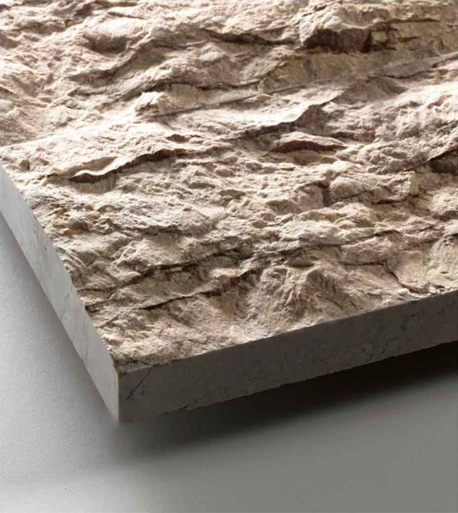Grolla Beige Split Face - Grolla hard limestone, the company's flagship product, is a versatile and resistant material because it lends itself to all types of processing.  What distinguishes this stone from the others are its extraordinary certified technical-mechanical characteristics, such as low water absorption, resistance to abrasion, salt, pollution and frost.  Thanks to these peculiarities, Grolla is suitable to the realisation of outdoor projects (ventilated and glued facades, floors, swimming pools) and interiors (wall coverings, floors, bathrooms, kitchens, objects and furnishing elements such as sinks, shower trays, tubs, tables and much more).  The colors of the Grolla range from beige to intense pink shades, passing through grey.  The remarkable technical characteristics, combined with the aesthetic qualities of this stone, adapt to suited to styles, architectural contexts and design from classic to contemporary, perfectly matching with wood, glass, steel and other materials.  Interiors and exteriors, classicism and contemporaneity: for Grolla, every solution is possible. | Matter of Stuff