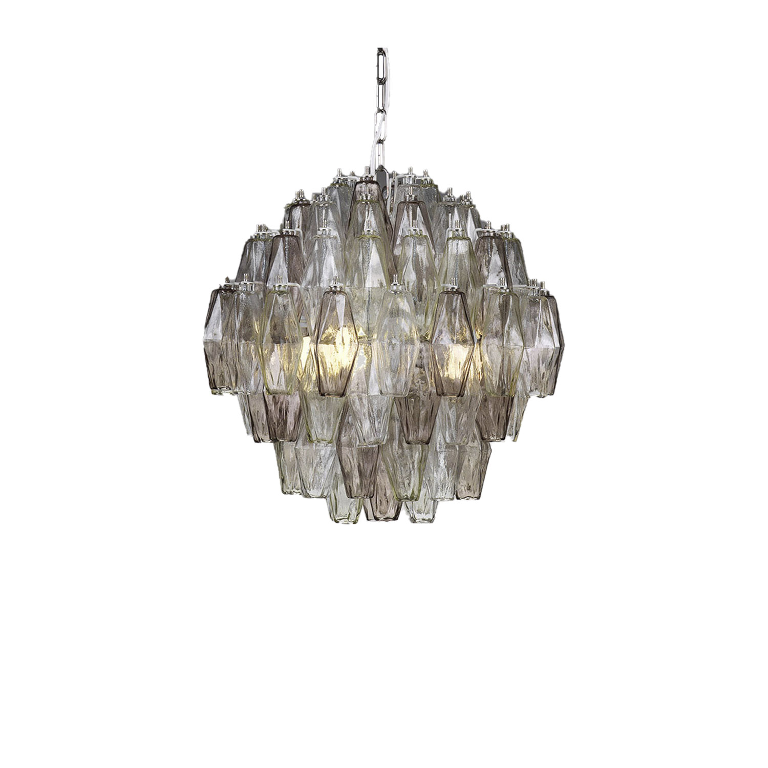 Casinò Chandelier - This chandelier perfectly fits in a contemporary – style space. Thanks to 4 lights bulb, there is touch of uniqueness given from the light filtering from the soft colours of the glass elements. The Poliedri collection is very important because it can be produced in various shapes and in various colours.  | Matter of Stuff