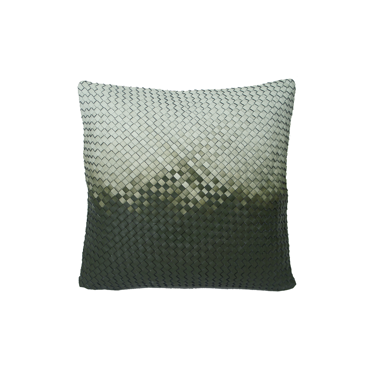 Tresse Degrade Diagonal Woven Leather Cushion Square - Tresse Degrade Diagonal Woven Leather Cushion is designed to complement an ambient with a natural and sophisticated feeling. This cushion style is available in pleated leather or pleated suede leather. Elisa Atheniense woven handmade leather cushions are specially manufactured in Brazil using an exclusive treated leather that brings the soft feel touch to every single piece.   The front panel is handwoven in leather and the back panel is 100% Pes, made in Brazil.  The inner cushion is available in Hollow Fibre and European Duck Feathers, made in the UK.  Please enquire for more information and see colour chart for reference.   | Matter of Stuff