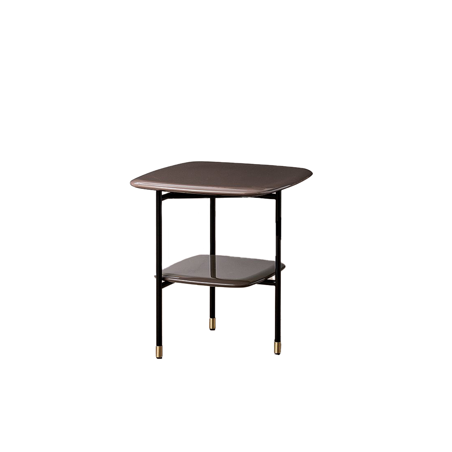 Adrian Square 45 Low Table - Collection of occasional tables featuring smooth edged tops, almost visually floating on a slim frame.  Realized in various dimensions, the Adrian coffee tables are available with tops in matt or glossy lacquer or in the different marble kinds. The frame in tubular metal can be entirely in bronzed brass or black – also completed by refined bronzed brass tips. | Matter of Stuff