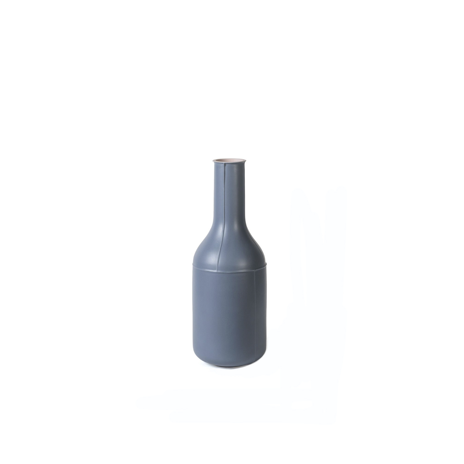 Light Blue Bottle Vase - Bottle vase. Cast in white clay. Two-tone matt glaze, pink on the inside and blue on the outside.