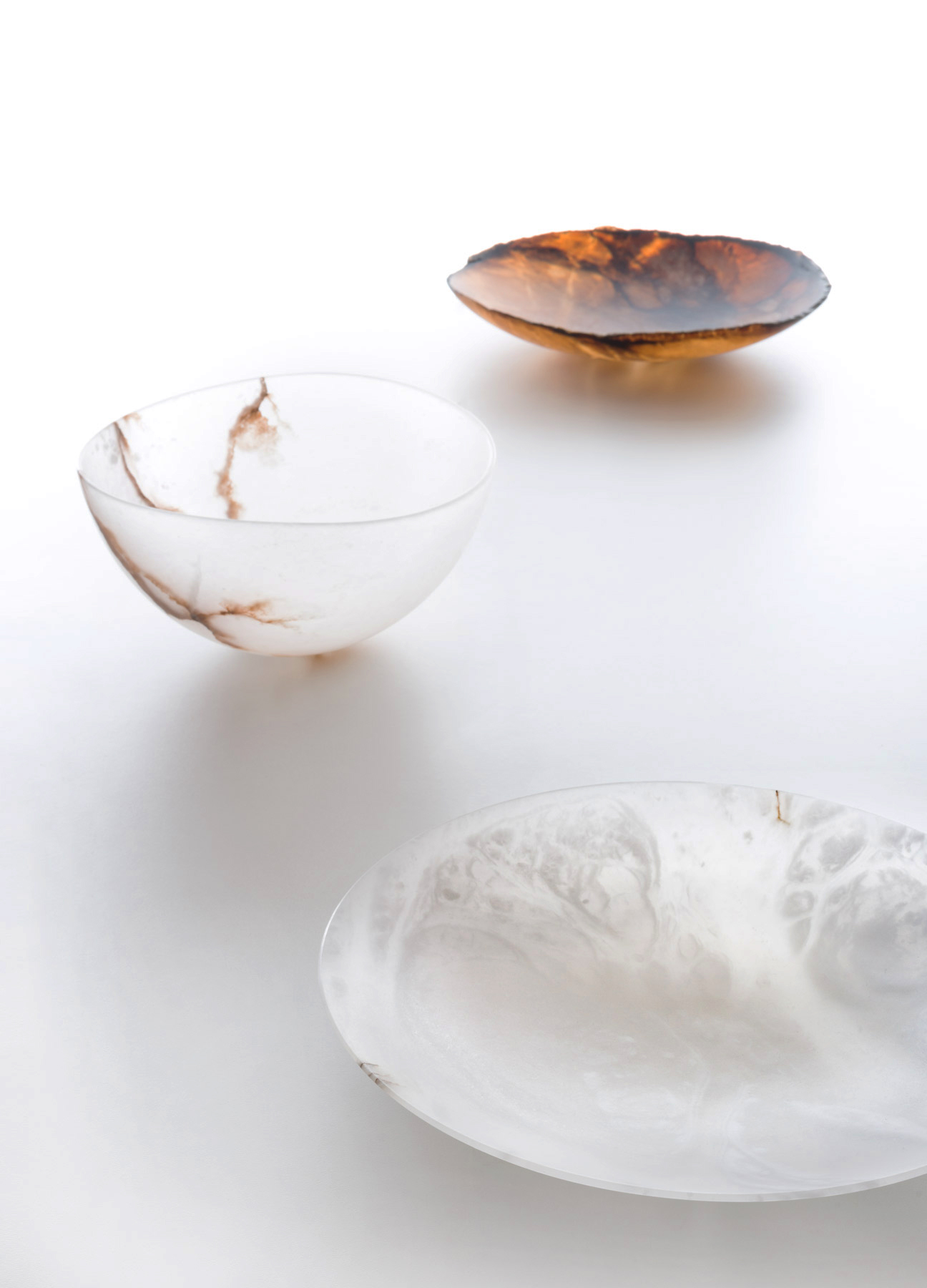 """Agata Bowl - <p>Alabastri is a collection of centerpieces made in Alabastro di Volterra (Italy)<br /> This sedimentary rock formed millions of years ago is found in caves or tunnels in the form of large ovoid blocks - called """"arnioni"""" - which are extracted and then processed following the traditional techniques. Each piece is handmade, finished and polished with a special abrasive dust that makes each piece smooth and velvety.</p>    Matter of Stuff"""