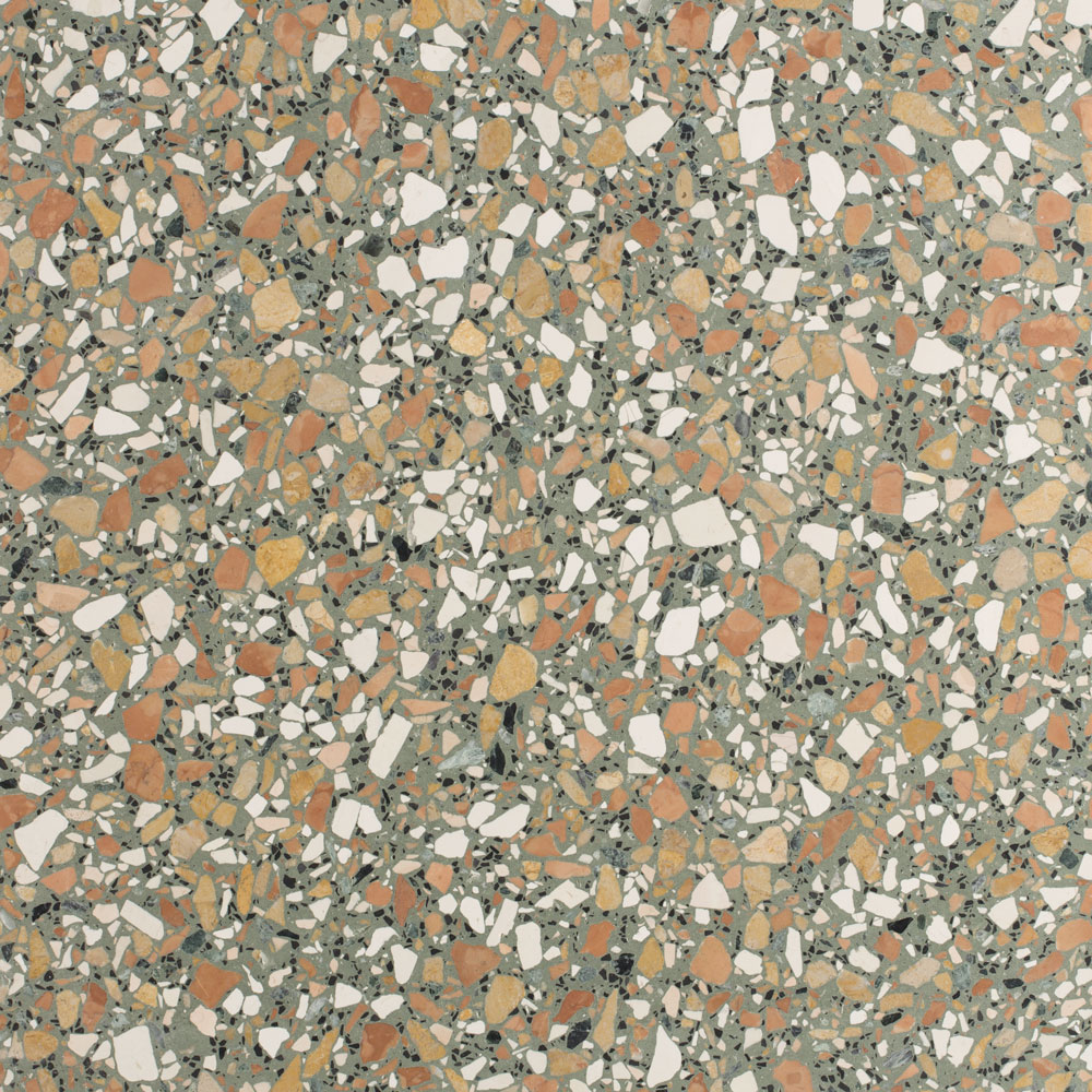 Salad Terrazzo Slabs - Terrazzo graniglia tiles made through sustainable processes and recyclable. This graniglia is indeed composed of natural recycled raw materials, 80% of which originates from the processing of precious Italian marble.  Salad is part of the S.3 Palette, a selection of colours that embodies the elegant harmony of nature and enfolds the clever history of the world. Coloured chips and concrete blend into each other to give free rein to creativity.  The slabs in the collection are available in different standard sizes. Bespoke sizes are also available to meet the specific requirements of your projects.  SLABS materials for special pieces, kitchen tops or stairs can be custom-made. | Matter of Stuff
