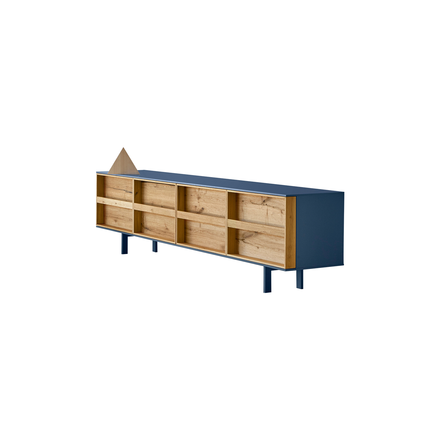 Ramblas Sideboard Large - Evocative, with thin wooden lines and a minimalist charm. The sideboard is characterized by doors designed as a library and equipped with an effective book-like opening system. It is available in three different sizes.