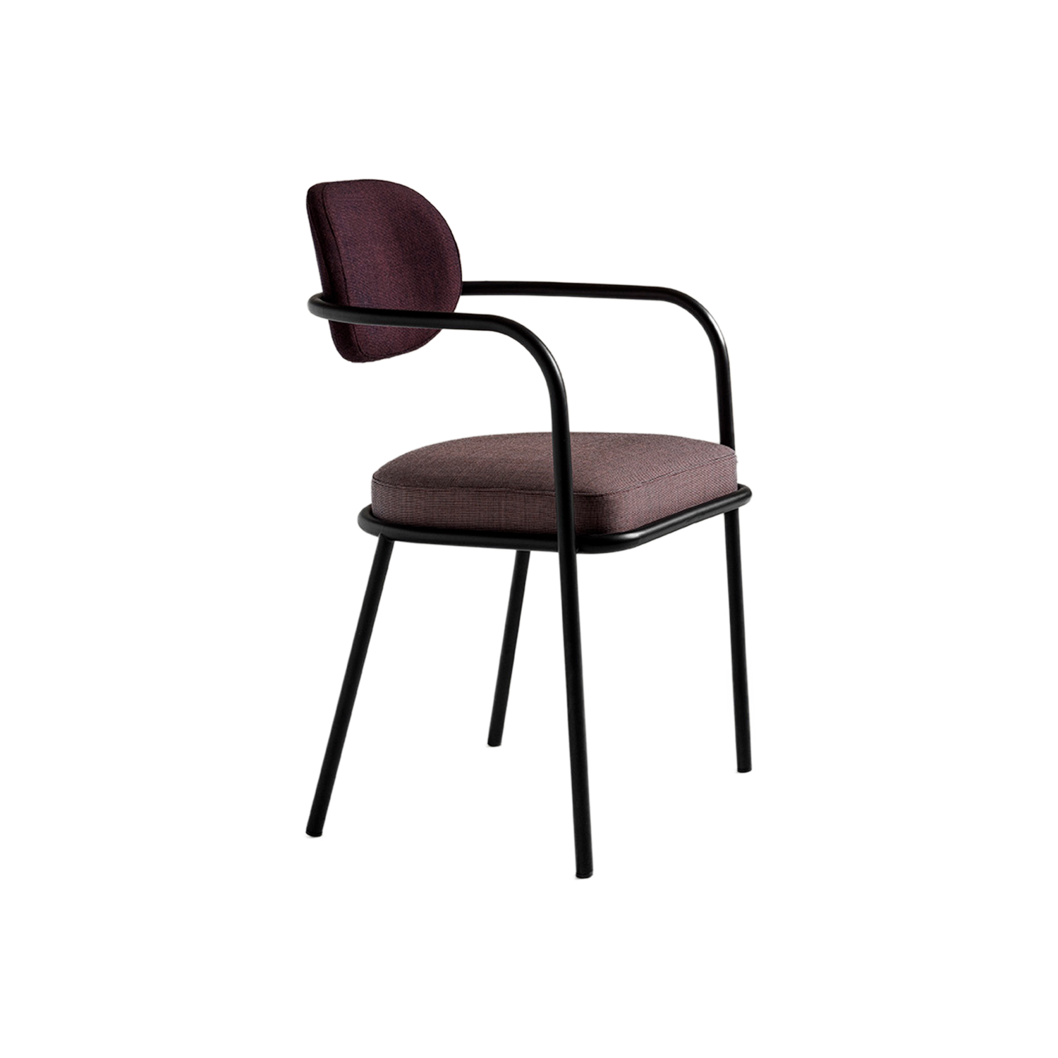 Ula Armchair - Distinguished by its curved tubular frame and fabric upholstery, Ula stands out for its slim, rounded body which alternates with the welcoming shapes of the padded seat and backrest. Ula is a chair with light volumes and precise shapes. The seat armrest bends down towards the floor, to such an extent that it becomes its front leg, giving the chair itself a truly light-weight appearance, making it look almost suspended. Ula Chair is made of a tubular steel frame. Seat and back are in polyurethane foam and polyester fiber lining. Cover in mono or two coloured fabric. A range of materials, colours and sizes are available in a number of combinations. Prices may vary. Please enquire for full details.  | Matter of Stuff
