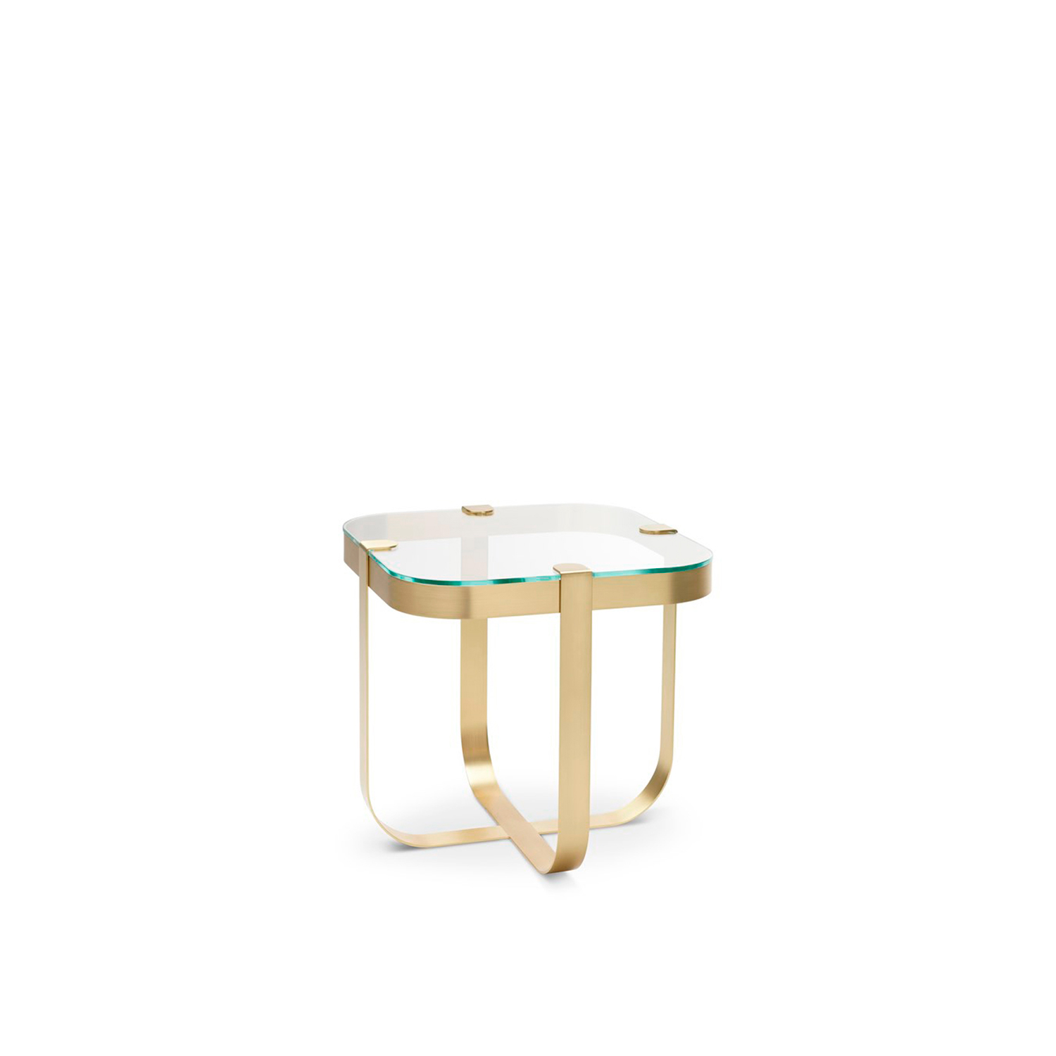 Ring Square Coffee Table - Elegant like jewellery, the Ring coffee tables are inspired by raw cuts of precious stones prior to being mounted into rings. The choice of materials is aimed to emphasise this inspiration behind the collection. The metal base structures are available in copper, brass, steel and nickel, each of which corresponds to a geometric form. Like in jewellery design, the glass tops in transparent or light colours are literally set onto the base structures.  Finishing: Round coffee table polished copper structure - smoked glass top; Square coffee table satin finished brass structure - extra clear glass top; Octagonal coffee table black nickel structure - bronze glass top; Oval coffee table clear chrome structure - sea water glass. | Matter of Stuff