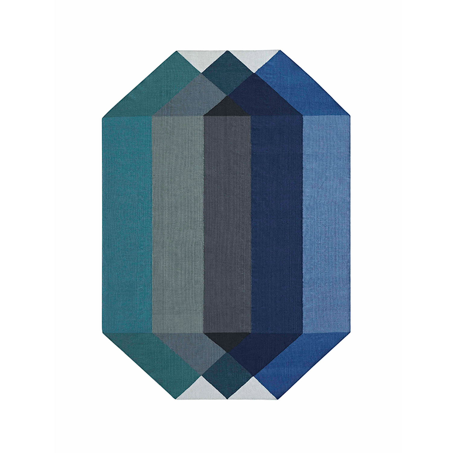 Diamond Rug - Diamond is Charlotte Lancelot's new collection of outdoor kilims for GAN, made from 100% recycled PET. The designer's goal was to create a multi-faceted coloured diamond, thanks to the superposition of different translucent geometric figures. The result offers fascinating visual effects of transparency and gradients that show that beauty and sustainability, at GAN, always go hand in hand. The manufacturing technique is Kilim and due to the handmade nature of the GAN product, slight variations in size, colour, finish are normal. 