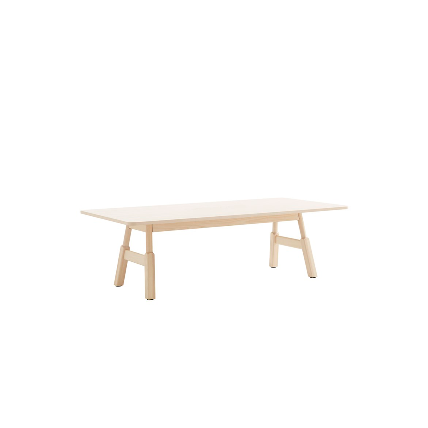 Woodwork Table - Woodwork (2020) is both a desk and a meeting table, a large shared surface for work and socialising of the kind that has become known as a 'community table. It's the perfect setting for bringing your team together for a working breakfast before you all continue to work side by side as the morning progresses. Then it's time for feedback over lunch, as some stand while others sit at the versatile 900 mm high surface.  In the afternoon maybe it's the turn of the company's management group to take over at the table for the remainder of the working day. The design of the legs, with the rounded upper part that morphs into a square shape lower down, is an elegant ergonomic detail that ensures no one need bang their knees when they sit down or are moving around the table. The table exhibits the distinctive character of wood and has been developed for a modern, activity-based office environment – hence the name Woodwork.  Woodwork pedestal table is available in heights of 730, 900 and 1050 mm with rectangular, square and round table tops of veneered MDF. The pedestal is in solid wood with a steel core. The table footplate is in metal, powder lacquered in white (RAL 9016), black (RAL 9005) or grey (RAL 9006/07) and has felt floor protectors. Table top, pedestal and footplate are detachable, so it is simple to freshen them up after many years' faithful service. Various power outlets are available (only for rectangulare pedestal tables) as optional extras.  Woodwork table comes with a rectangular table tops of blockboard veneered and in a choice of two heights, 730 and 900 mm. The underframe and legs are in solid wood with adjustment screws on the feet. The table is supplied unassembled. Various power outlets are available as optional extras.  All Woodwork tables have a table tops of veneered in oak, ash, standard stains on ash and white glazed oak or ash. Top is also available in laminate (white, black, oak, birch, ash) and black desktop. Clear lacquered surfa