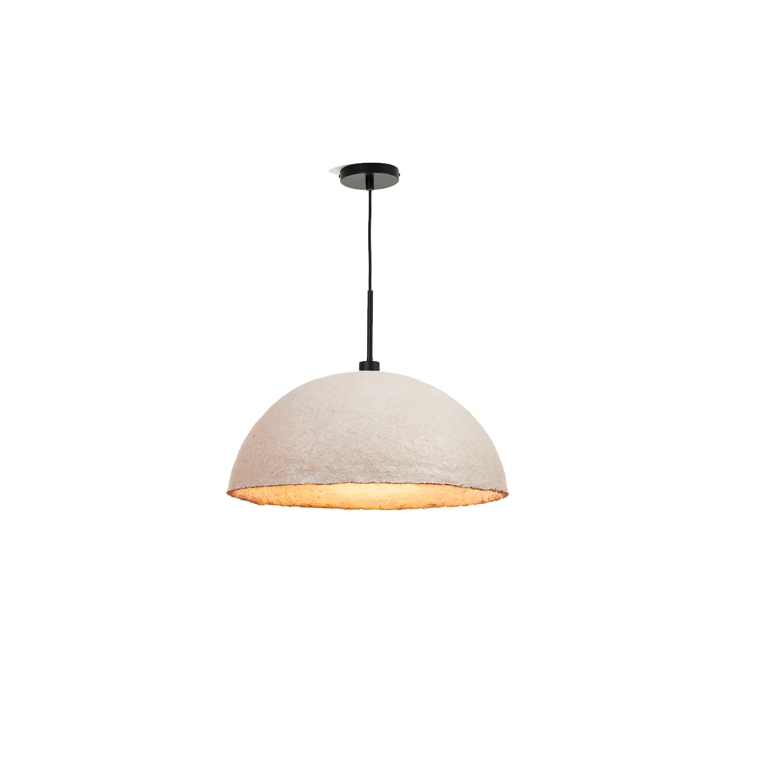 MushLume Hemi Pendant Light - These organic lampshades by Grown Bio take your lighting design to the next level! The dome is fully biodegradable and is made of mycelium. Over the period of a couple of days, the mycelium binds together the natural fibers. Your lampshade will thus literally be grown on demand and will entirely unique. Each pendant comes with a ceiling cap, a textile cable of 200cm and an E27 fitting. These necessities come in either black, white or brass and might slightly differ from the photo.  This fitting only supports the usage of a LED lamp bulb (not supplied in the package). Grown Bio will start growing your light shade as soon as we have received your order. | Matter of Stuff