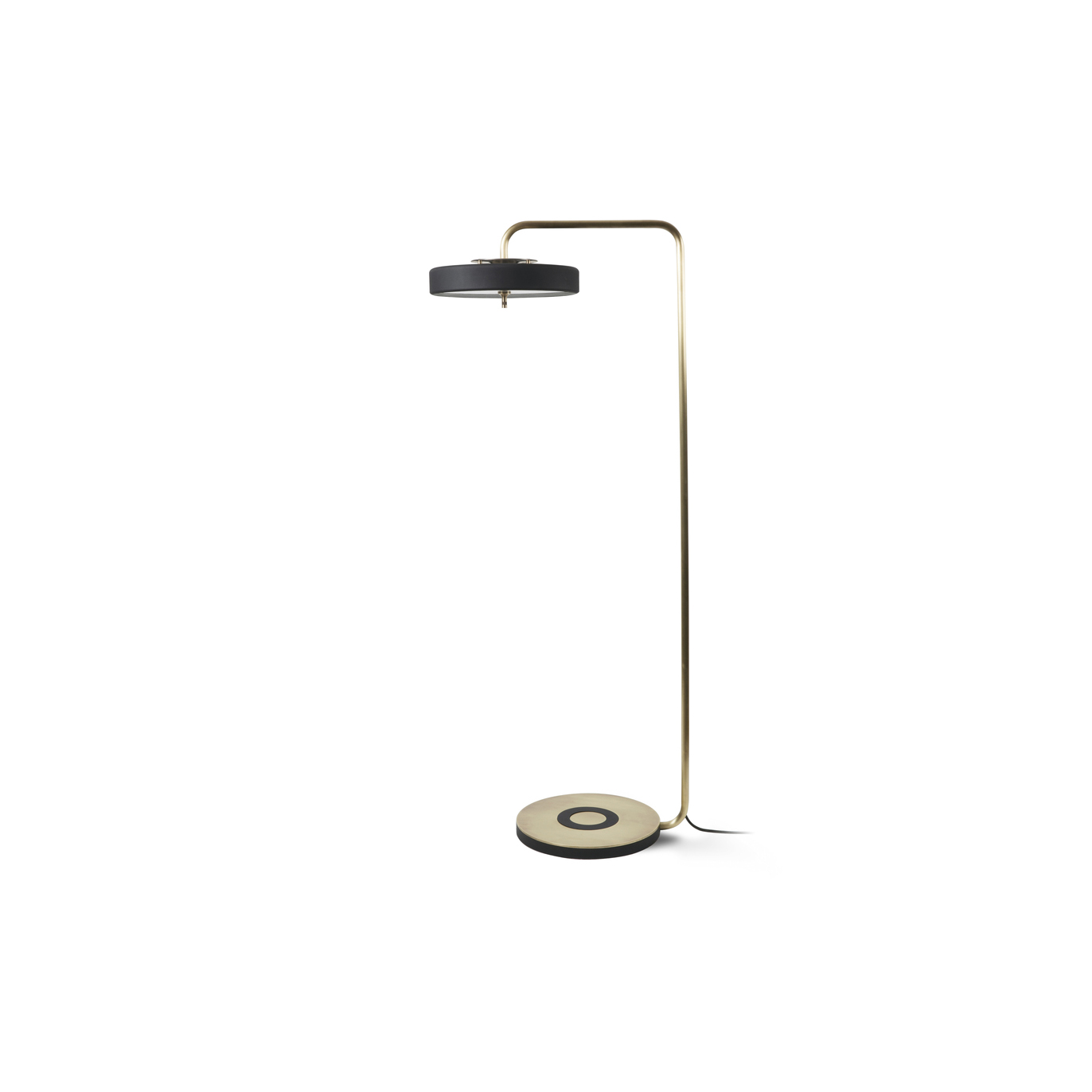 Revolve Floor Lamp - The perfect partner to a reading chair or a stylish way to highlight a corner space, the Revolve Floor Lamp features an overhanging spun metal shade and a hand-brushed brass stand.  | Matter of Stuff