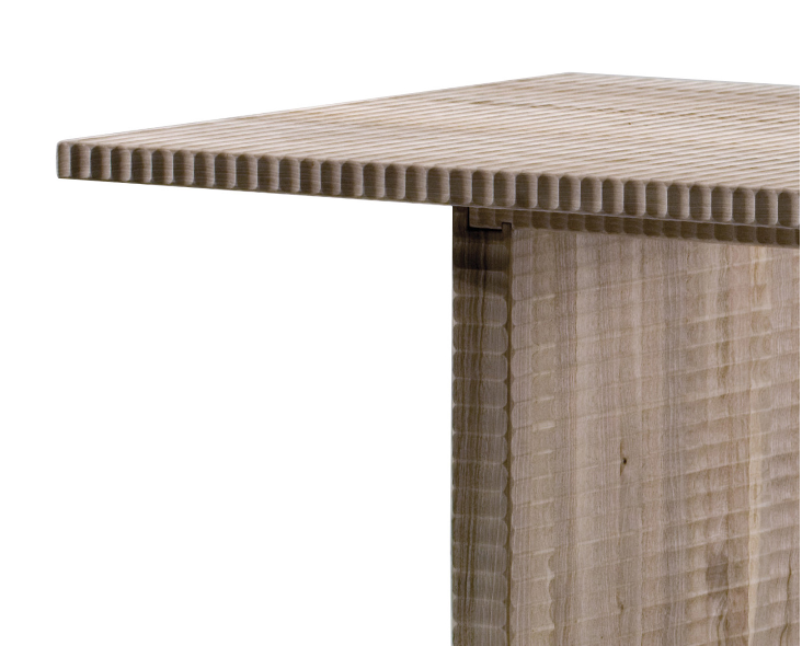 """Palestrina Dining Table - <p>Palestrina is a table made with planks of solid wood, manually finished on all sides by planing.<br /> The entire manufacturing and finishing process is carried out manually in our workshop. The wood used for this piece is Juglans Regia – common Italian walnut; not dried but """"raw"""". This wood belongs to the Latin tradition of furniture-making and features an extremely compact fibre which can, however, be worked without too much difficulty; it is therefore highly suitable for household items. Over time the wood hardens and becomes extremely resistant, and oxidises slightly to take on a progressively warmer amber colour. In Palestrina, the need to define an image of stark beauty led to the minimalist prismed top supported by two uprights. The undulating finish on the solid wood gives this table a vibrant presence. Customised and made with European cherry, Slavonian oak, maple.</p>  
