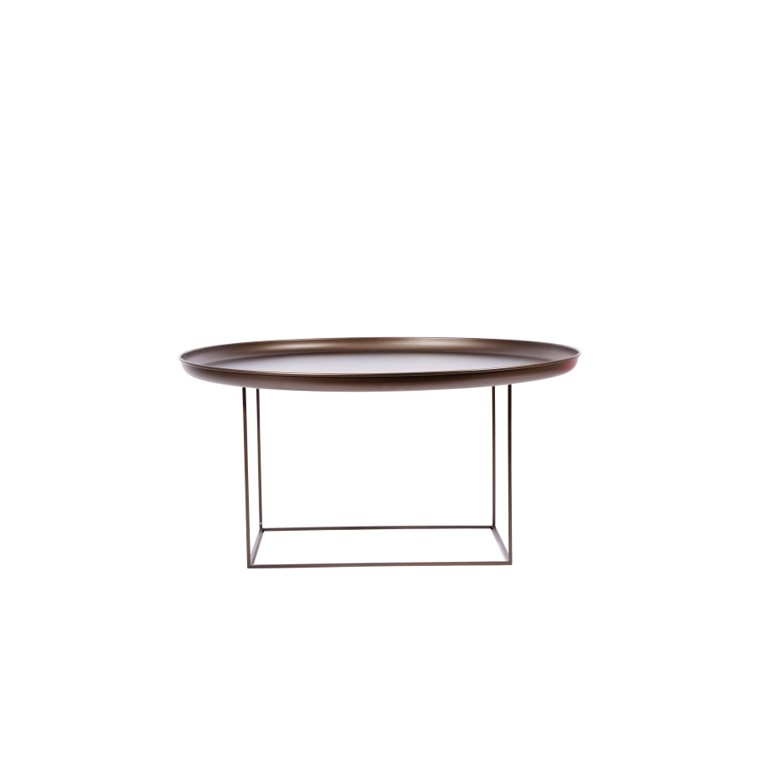 Duke Coffee Table Large - The Duke tables are a series of multi-functional side and coffee tables with a spun metal tray loosely placed on top of a metal frame. The tables come in small, medium and large and can easily be adapted to fit your needs, with the medium size particularly functional. The base can be rotated onto its different faces to create three different table heights, making them suitable to fit any height of sofa or to be used as a bedside table. When all three sizes are placed together they create a nice landscape that compliments any sofa.  | Matter of Stuff