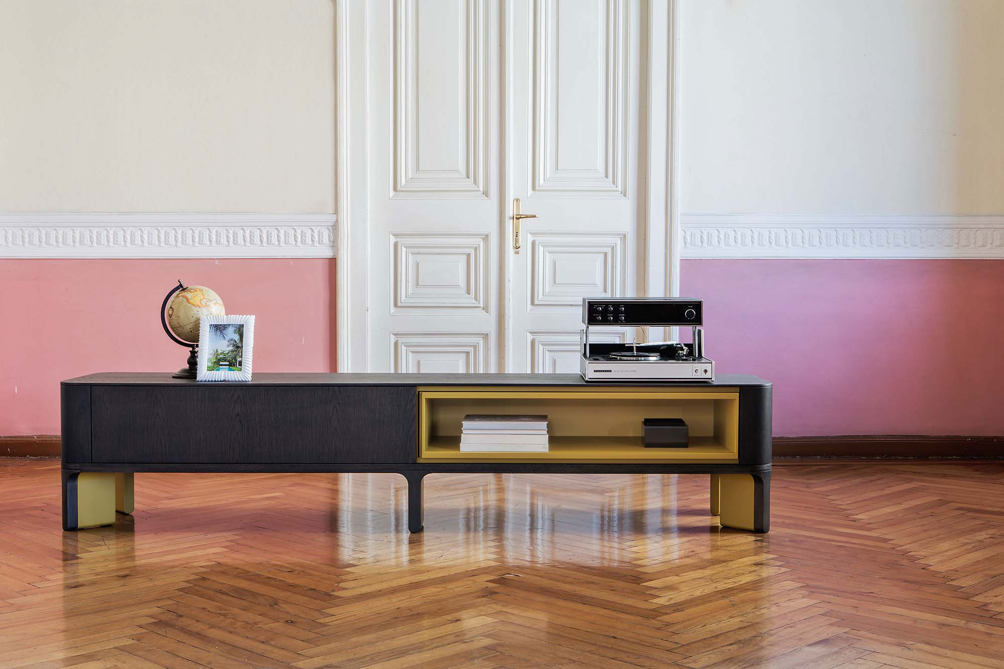 Acro-Bat 005 Sideboard - <p>T.V. unit in various sizes – ground sideboard with open space and one push-soft closing drawer in wood and lacquer - base in two sections in wood and lacquer or total lacquered. Extra open space and internal drawer always lacquered as base.</p>  | Matter of Stuff