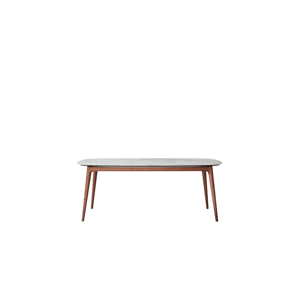 Hanami Table - Flowing lines and attention to detail are the distinguishing features of the Hanami table. The angled, tapering legs produce a light, dynamic look: cabinet-making expertise has been applied to produce a piece of the highest quality. The top is available in marble and lava stone, or in the noce canaletto, rovere chiaro and rovere carbone finishes and any of the matt lacquered colour options. Legs can be in the noce canaletto, rovere chiaro or rovere carbone finish. | Matter of Stuff