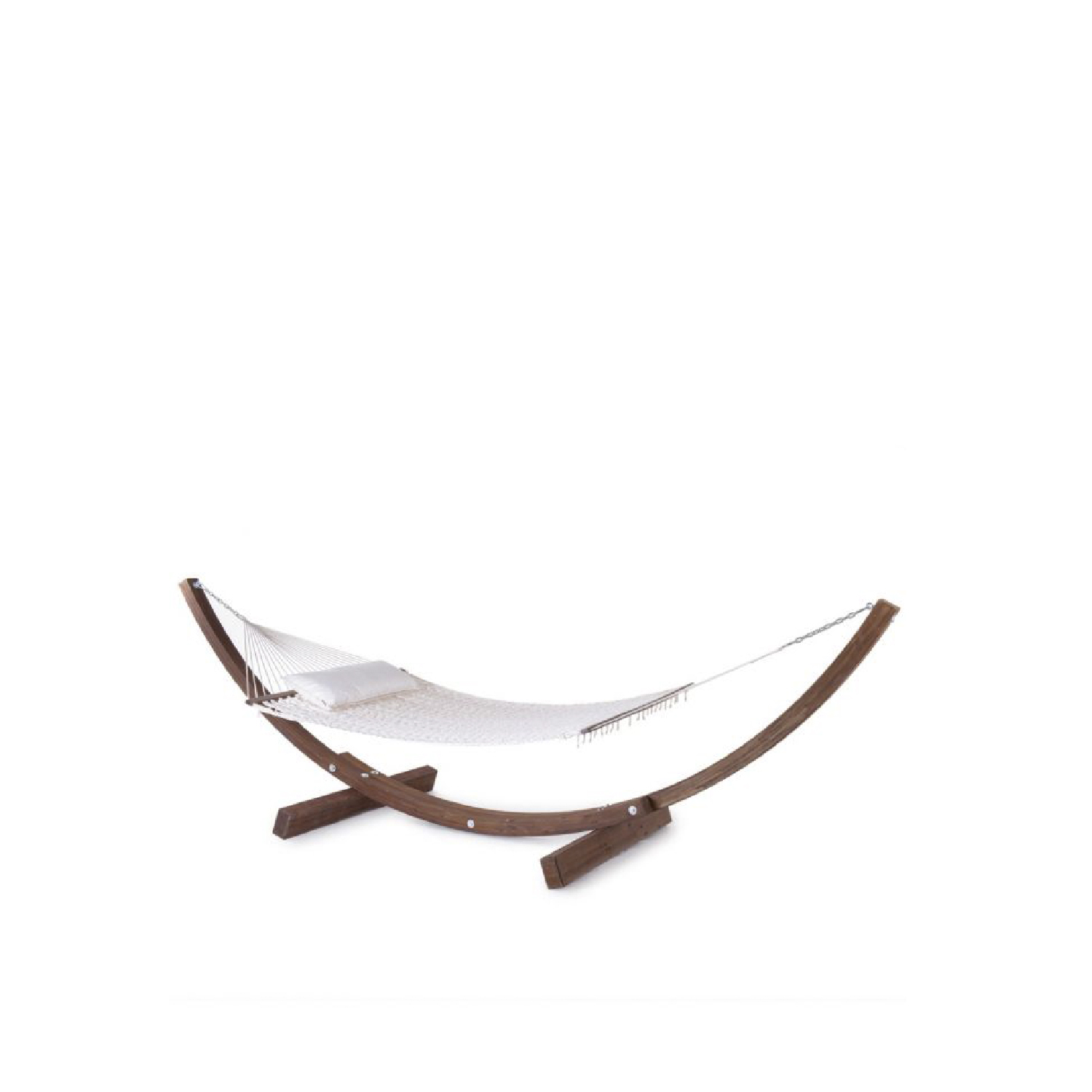 Amanda Hammock - The AMANDA hammock, timeless icon of UNOPIU' style. On show on the cover of the 2018 catalogue, AMANDA is the result of an idea as simple as it is clever: the combination of curved lamellar wooden poles and handwoven cord net. And so this unique and innovative self-supporting hammock came into being. It can be placed absolutely anywhere, even in the absence of trees.  The AMANDA hammock, a timeless icon of Unopiù design, needs no introduction. This cult object of clearly recognizable design boasts numerous imitations around the world. Created to comfortably accommodate two people, it is upholstered with a new grey melange coloured cord and is supplemented by a practical new cushion.  To create your own personal version or to meet any particular furnishing need, the structure can be painted in colours from the Unopiù Colour.  Structure: treated lamellar wood. Colour: walnut.  Net and cushion:  100% cotton, off white. / grey melange polypropylene | Matter of Stuff
