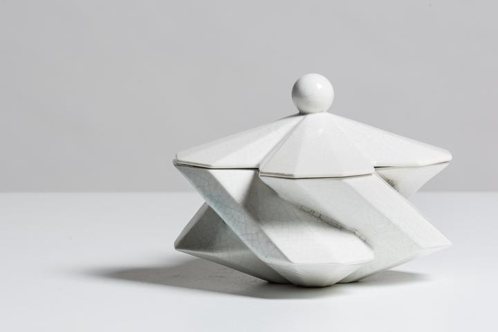 Fortress Treasury Box Crackled White - <p>Designer Lara Bohinc explores the marriage of ancient and futuristic form in the new Fortress Vase range, which has created a more complex geometric and modern structure from the original inspiration of the octagonal towers at the Diocletian Palace in Croatia. The resulting hexagonal blocks interlock and embrace to allow the play of light and shade on the many surfaces and angles. There are four Fortress shapes: the larger Column and Castle (45cm height), the Pillar (30cm height) and the Tower vase (37cm height). These are hand made from ceramic in a small Italian artisanal workshop and come in different finishes</p>  | Matter of Stuff