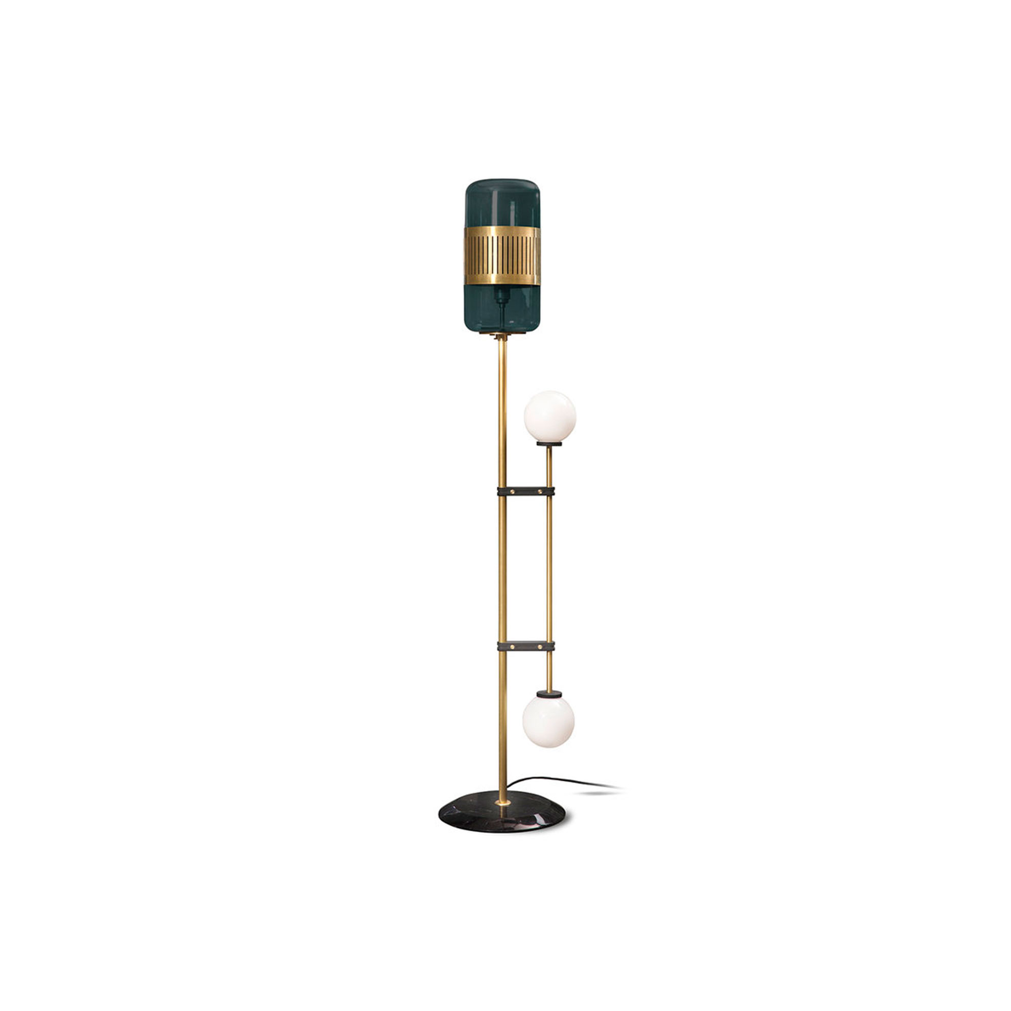 Lizak Floor Lamp - Sophisticated yet unexpected, the Lizak floor lamp juxtaposes cylindrical glass shades with opalescent globes on linear brass arms. Grounded with a solid white marble base, it offers a beguiling play on contrast and will lend elegance to any room.    | Matter of Stuff