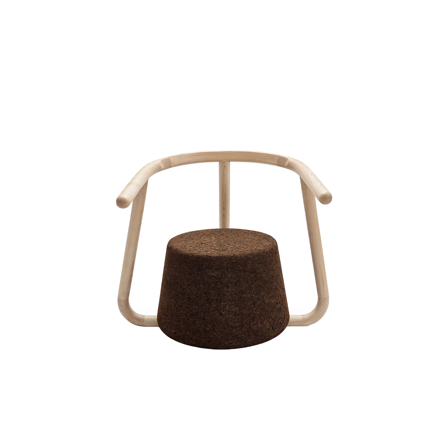 """Ypsilon Lounge Chair - It is only used cork of the branches (falca) for the manufacture of cork granules. These are block clusters in autoclave, being 100% natural process, without use of additives. Technology, developed by Sofalca, consists of injecting water vapour through the pallets that will expand and agglutinate with the resins of the cork itself. This """"cooking"""" gives also dark colour to the agglomerated cork, like chocolate. In the production of steam I used biomass, obtained on milling and cleaning the falca, what makes it truly ecological production and without waste, 95% energy self-sufficient. As a super-material, cork offers so many advantages, because in addition to its excellent thermic, acoustic insulation and anti vibration characteristic, it is also a CO2 sink playing a key-role in the environment. 