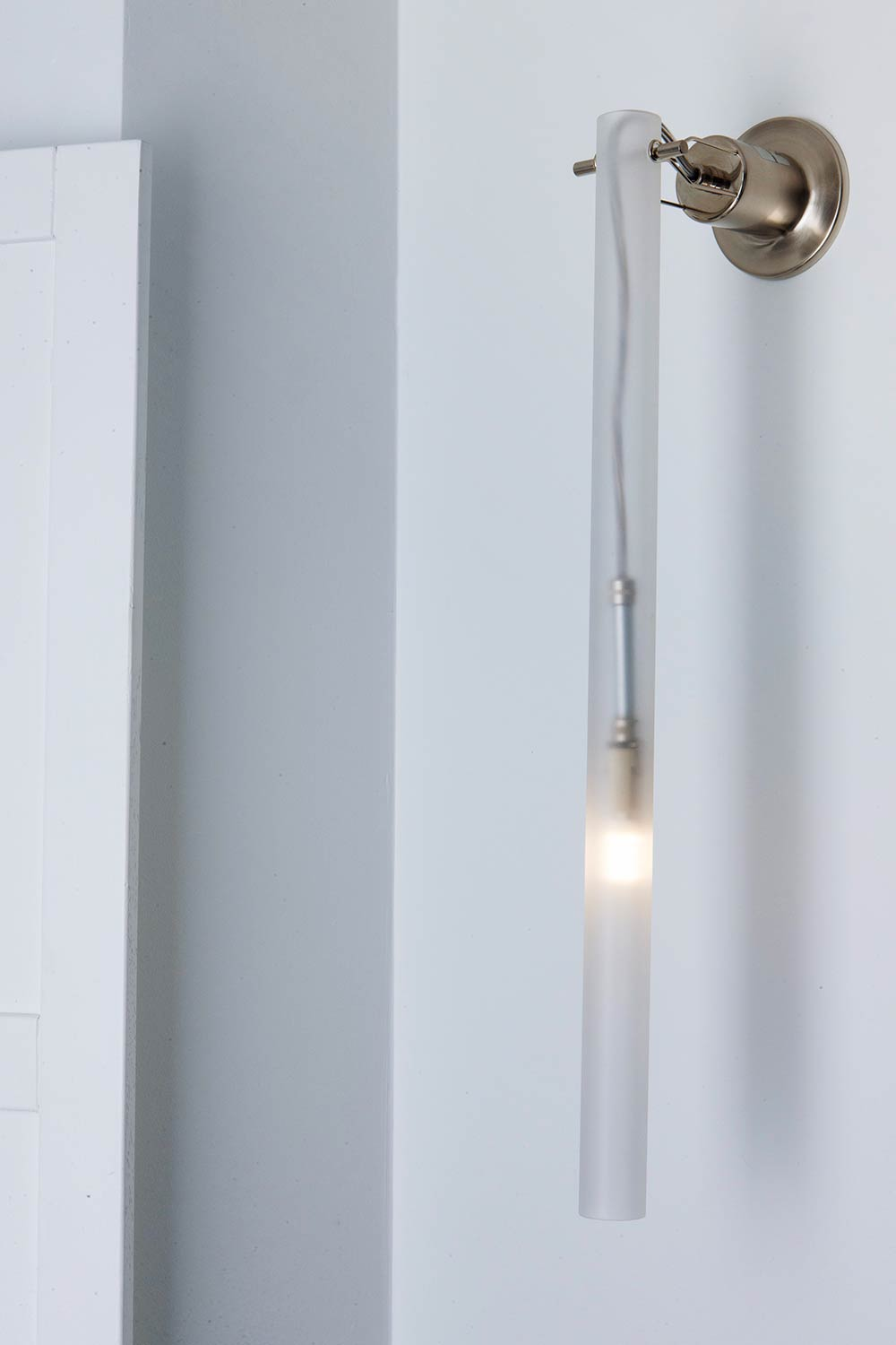 Canna Nuda Wall Lamp - <p>Family of pendant or wall/ceiling lighting fixtures realized with a satin nickel or burnished gold metal structure connected with a sanded glass cylinder. Available in different length and LED or halogen versions.</p>  | Matter of Stuff