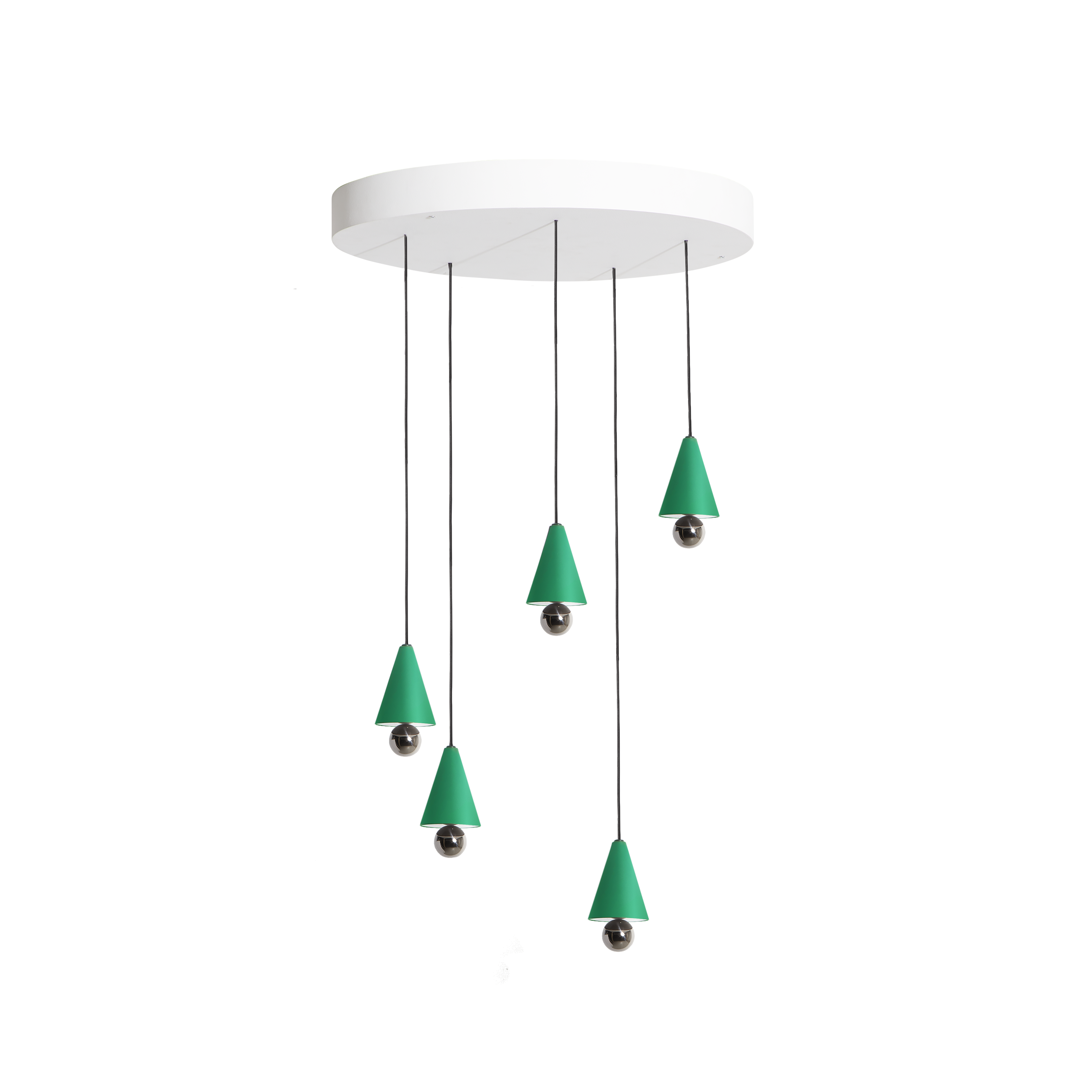 """Cherry Pendant System Round - The duo of Australian designers DANIEL and EMMA has created CHERRY a simple and minimal suspension - an aluminium cone sub-mounted with a sphere - and manages to create a subtle ratio of light between the diffuser and the ball at the finish shimmering.   """"The CHERRY suspensions refer to our child's soul: to the gums we collected and more obviously to the ice cream cone with the cherry at the top that we loved so much."""" DANIEL and EMMA     Matter of Stuff"""