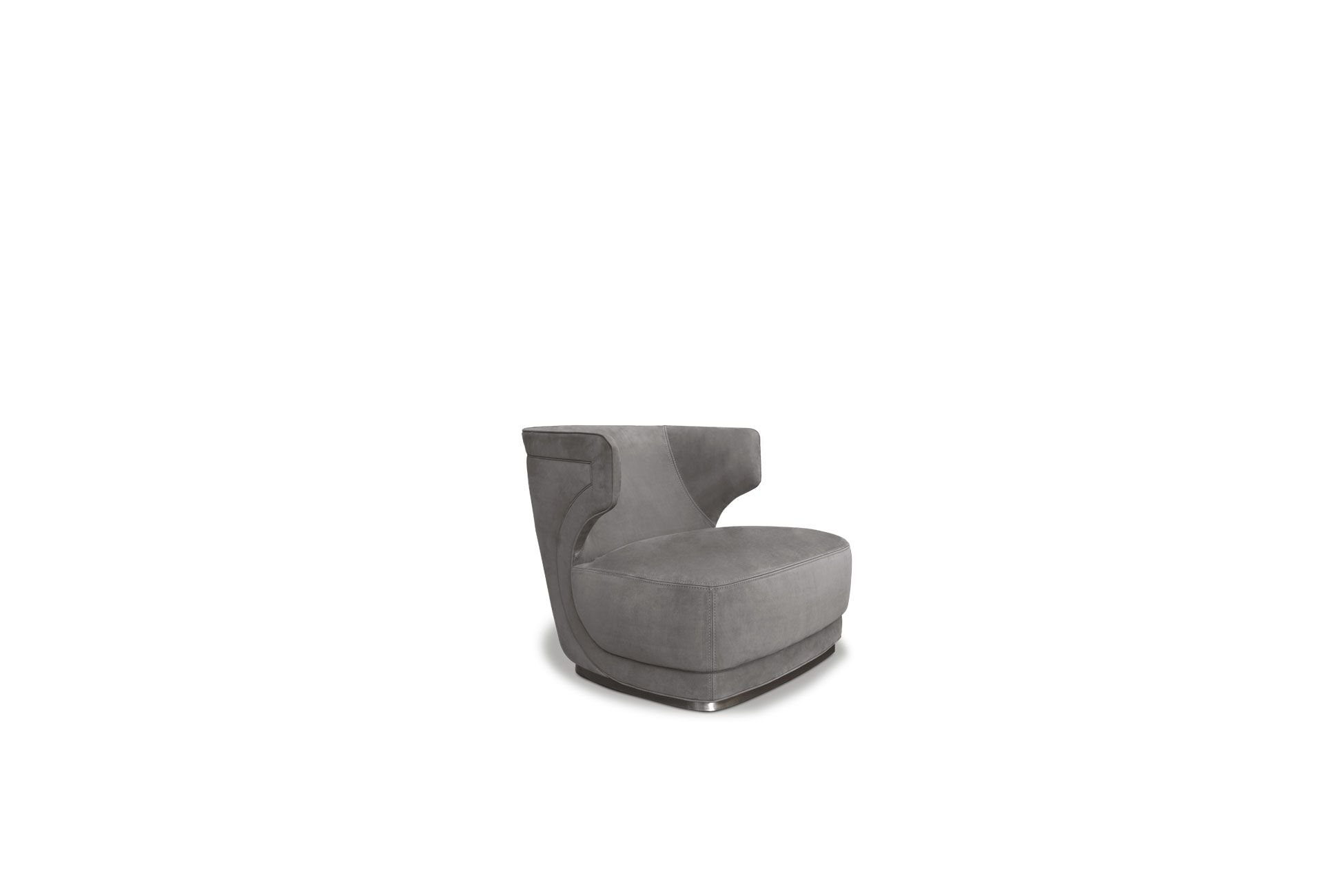 Etienne Armchair - Backrest frame in curved plywood and seat in pine and beech. Base in satin-finished brass, in hand-finished burnished metal or in satin nickeled metal, with matte varnish. Padding in differentiated density polyurethane foam. Double decorative edge.  Matte black-varnished metal revolving base is available on request at no surcharge. The armchair with two different kinds of leather or colour (structure and seat) is available on request with no surcharge; it should be remembered that the price is set by the leather in the higher category.  Each product is hand-made in Italy and upholstery can be customised upon request. For more information on leathers and materials please refer to the catalogue   Matter of Stuff