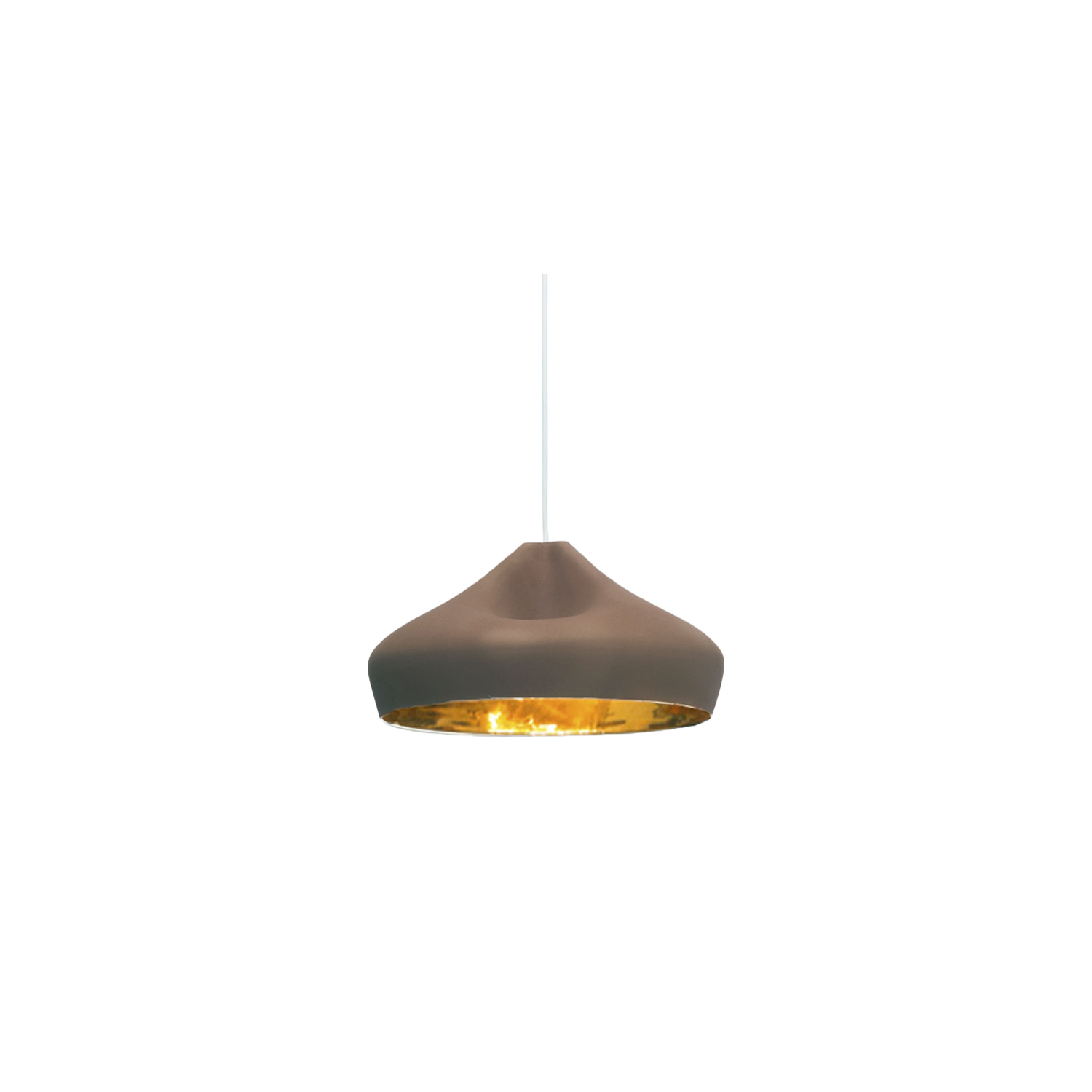 Pleat Box 47 Pendant Light - The idea behind the Pleat Box is a sophisticated combination between a digitally designed crease in a piece of cloth and a silhouette that is applied to a ceramic base. The outer part of the lamp is offered in white ceramic, brown, black, terracotta, and grey– the direct result of recycling different enamels. The interior is available in brilliant white enamel, which enhances the luminous light from the lamp, or 24k gold, which generates an extremely warm light. The Pleat Box collection is now available with an integrated LED technology, which projects indirect light and prevents glare.  | Matter of Stuff
