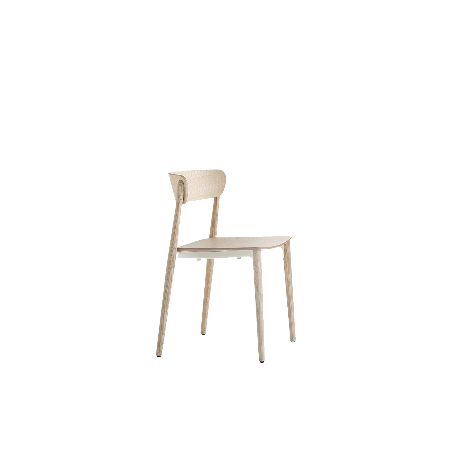 Nemea Chair - Nemea is a collection of classically-shaped seatings, whose visible, light structural elements seem to be smoothed by time, like findings from the Ancient Greece. The chair seems to extend into an athletic pose, with its sinuous legs in solid ash grafted to the die-casted aluminium frame placed under the plywood seat. The embracing, comfortable backrest crowns the seat. Stackable. Seat upholstered in fabric or leather.   | Matter of Stuff